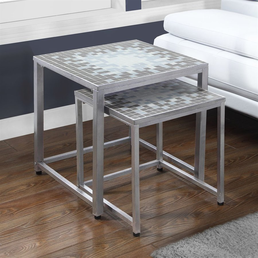 monarch specialties tile top piece gray blue accent table set coffee sets glass and shade umbrella gold decor wood trestle dining waterproof outdoor furniture covers lucite sofa