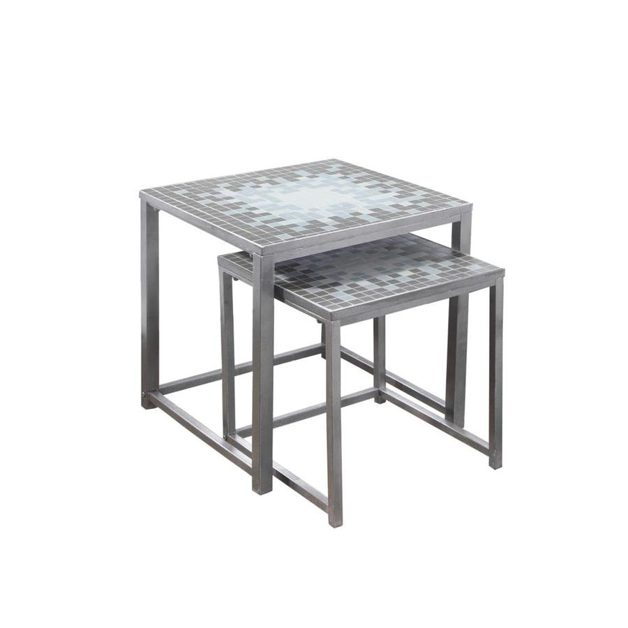monarch specialties tile top piece gray blue accent table set grey gear lamp drum stool base made coffee marble dining small decorative chest drawers barnwood smoked glass pier