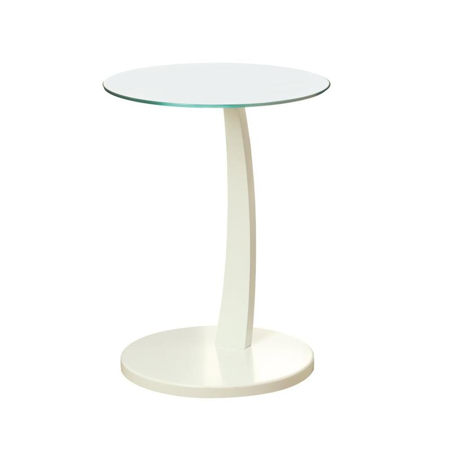 monarch specialties white round end table bentwood accent with tempered glass yellow sofa lamps set threshold two drawer frog rain drum counter height craft moroccan tile small