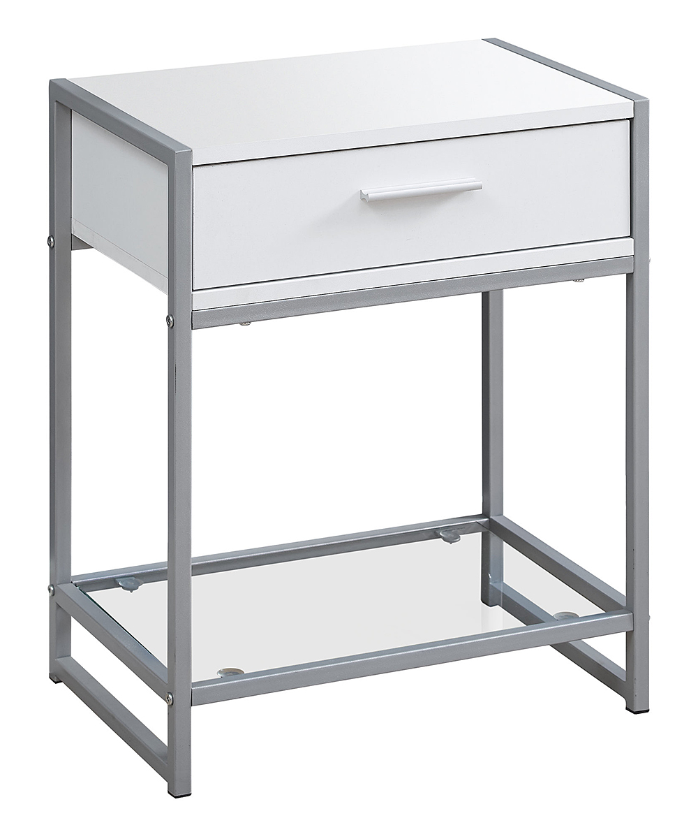 monarch specialties white silver accent table zulily main all gone floating nightstand ikea pottery barn style tables wyatt furniture miera diamond mirrored black marble top end