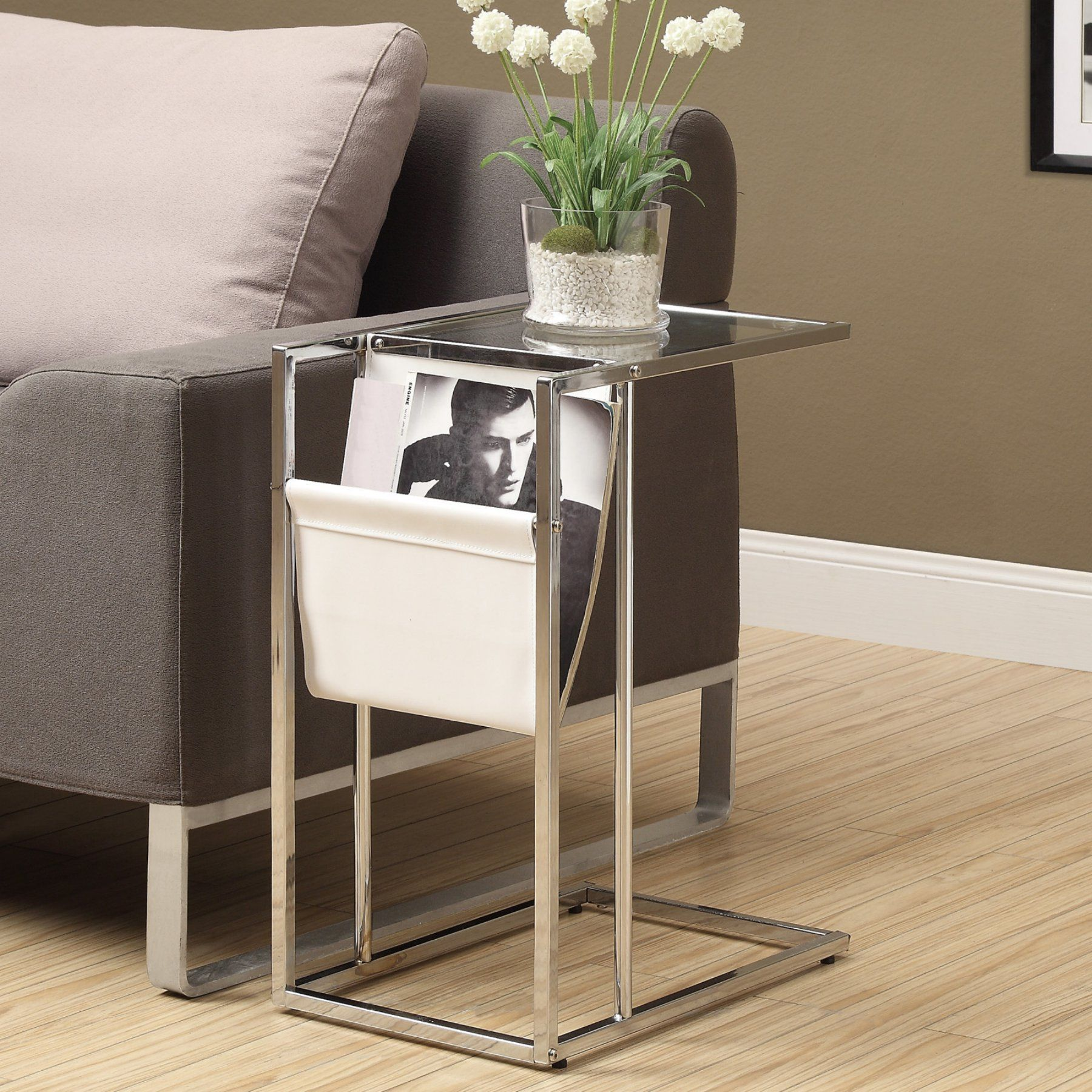 monarch white and chrome metal accent table with magazine rack outdoor sets glass top coffee storage high back chair red bedroom lamps target desk furniture umbrella tablecloths