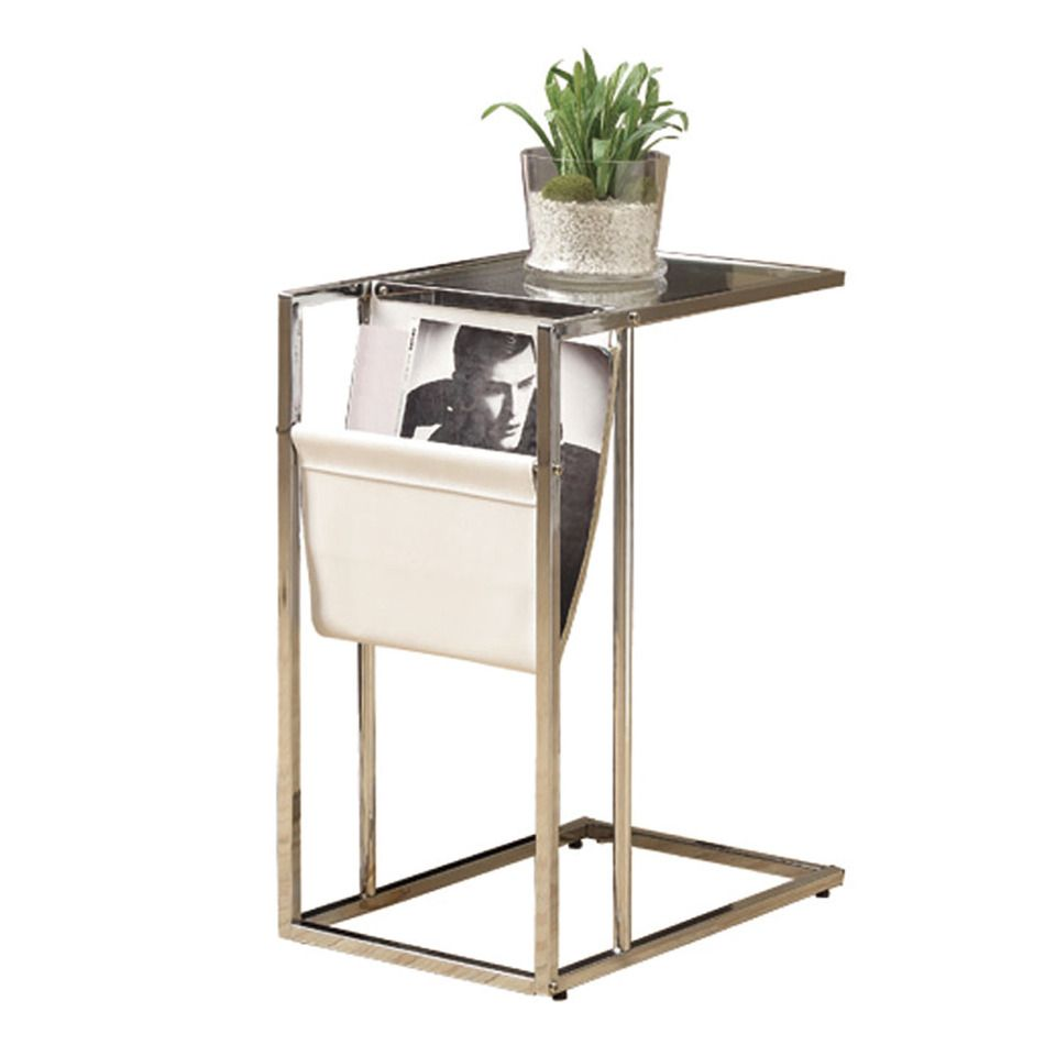 monarch white chrome metal accent table with magazine holder doors chest for living room frog rain drum outdoor patio furniture vintage brass and glass coffee new modern design