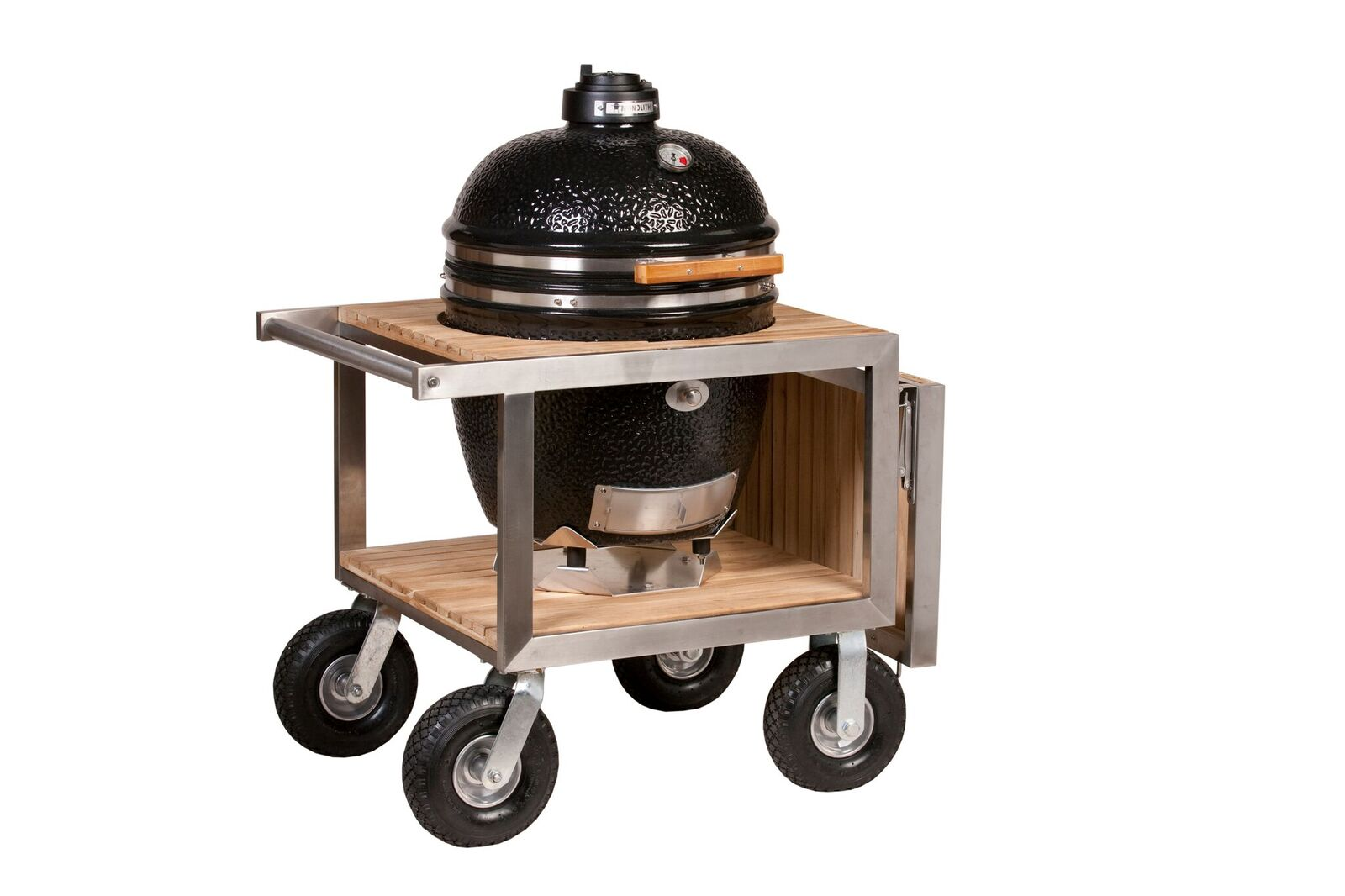 monolith kamado barbecue smokers and grills review classic buggy sidetable outdoor side table for bbq the ceramic grill stainless steel framed with folding shelf patio coffee iron