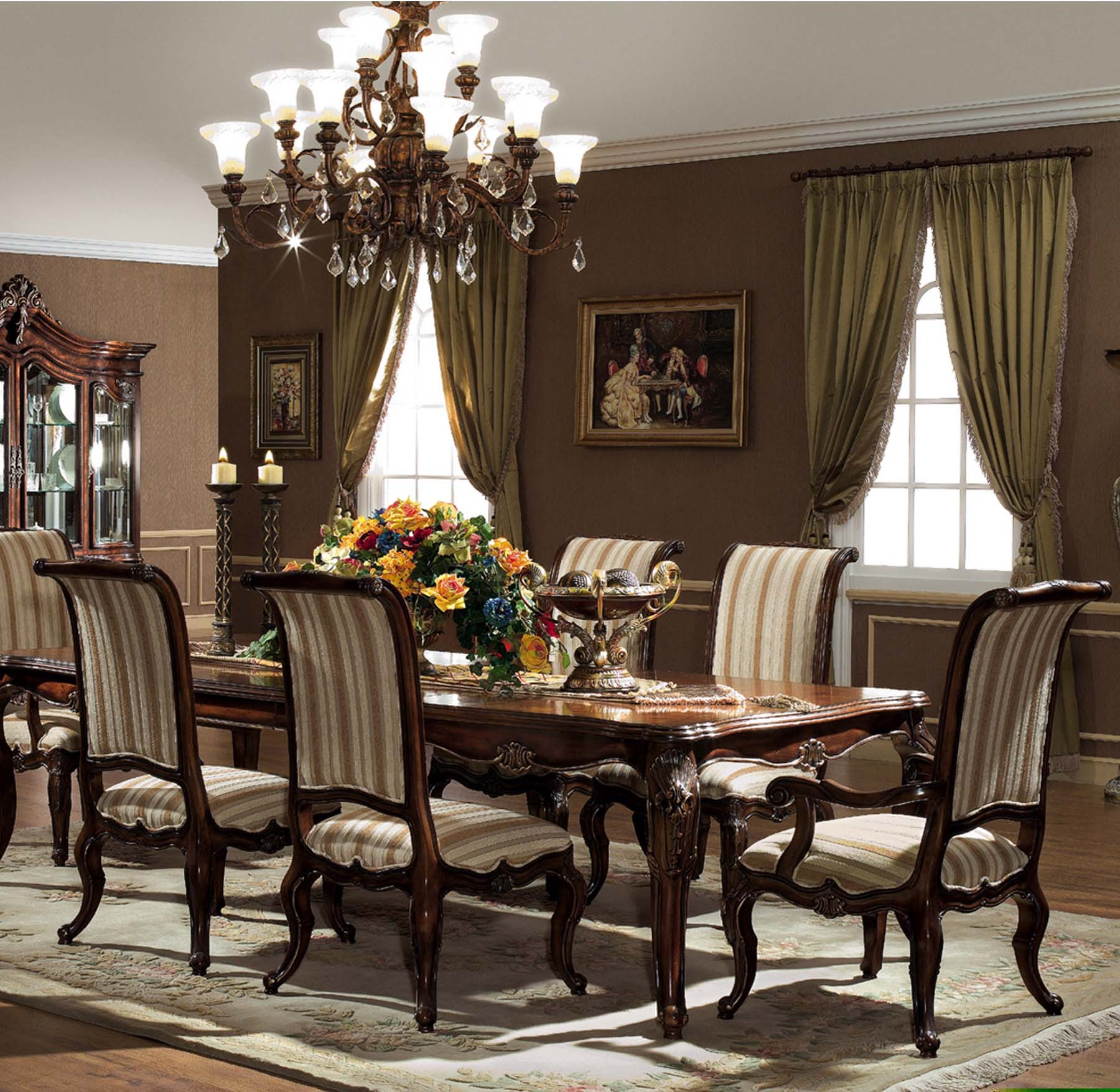 monterey dining table set gold accent shown antique walnut finish globe lighting portland round patio inch furniture legs mango wood caldwell side cloth home goods sets rattan