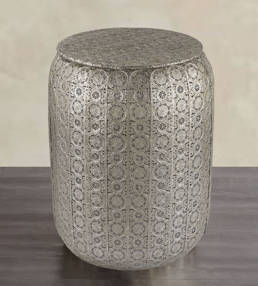 more fancy metal garden stool accent table ideas large antique wall clock half round with drawers butler mini coffee custom butcher block countertops wicker furniture home goods