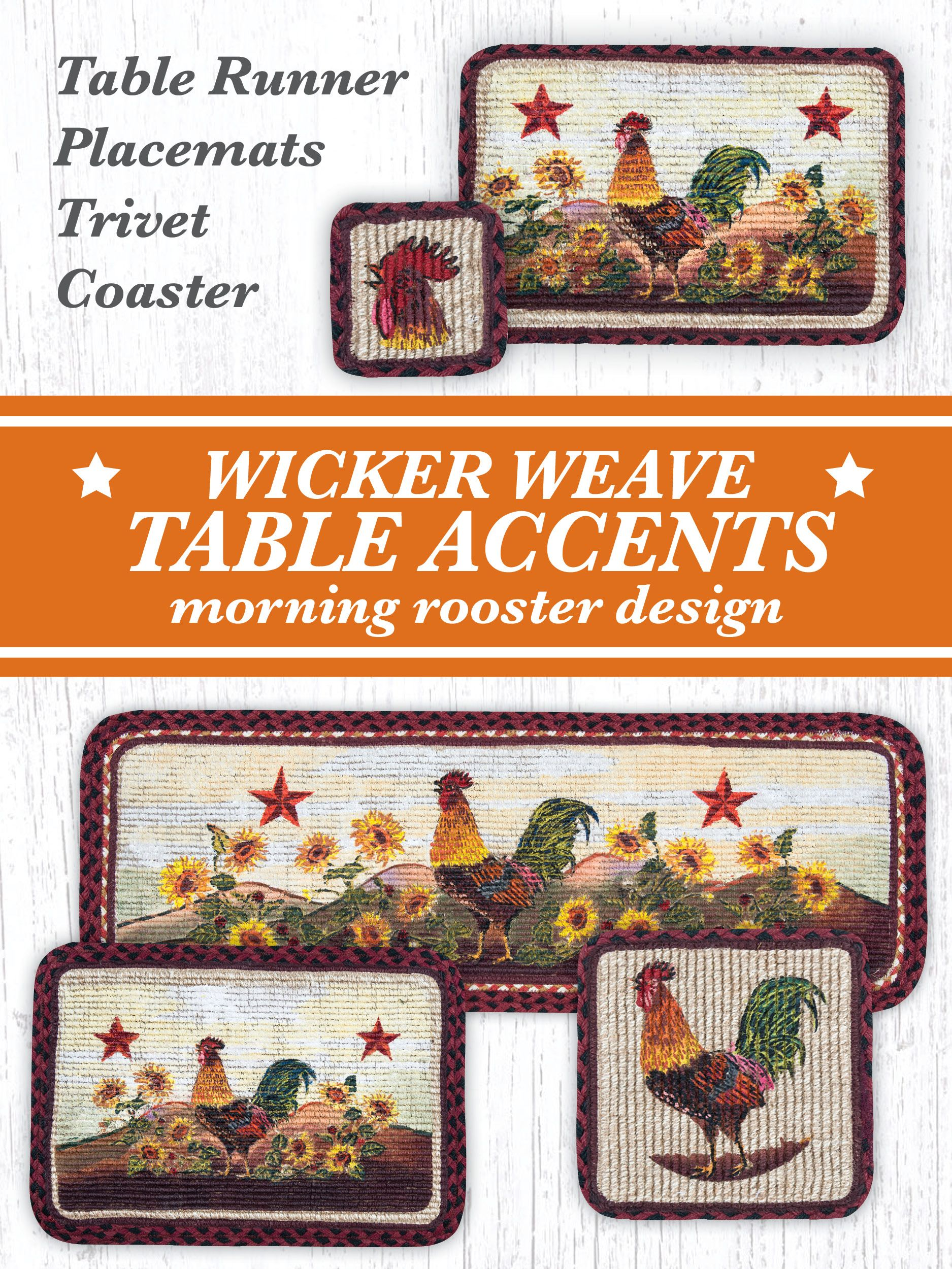 morning rooster wicker weave table accents farm and country accent placemat braided jute with design perfect kitchen decor setting ethan allen leather furniture triangle lime
