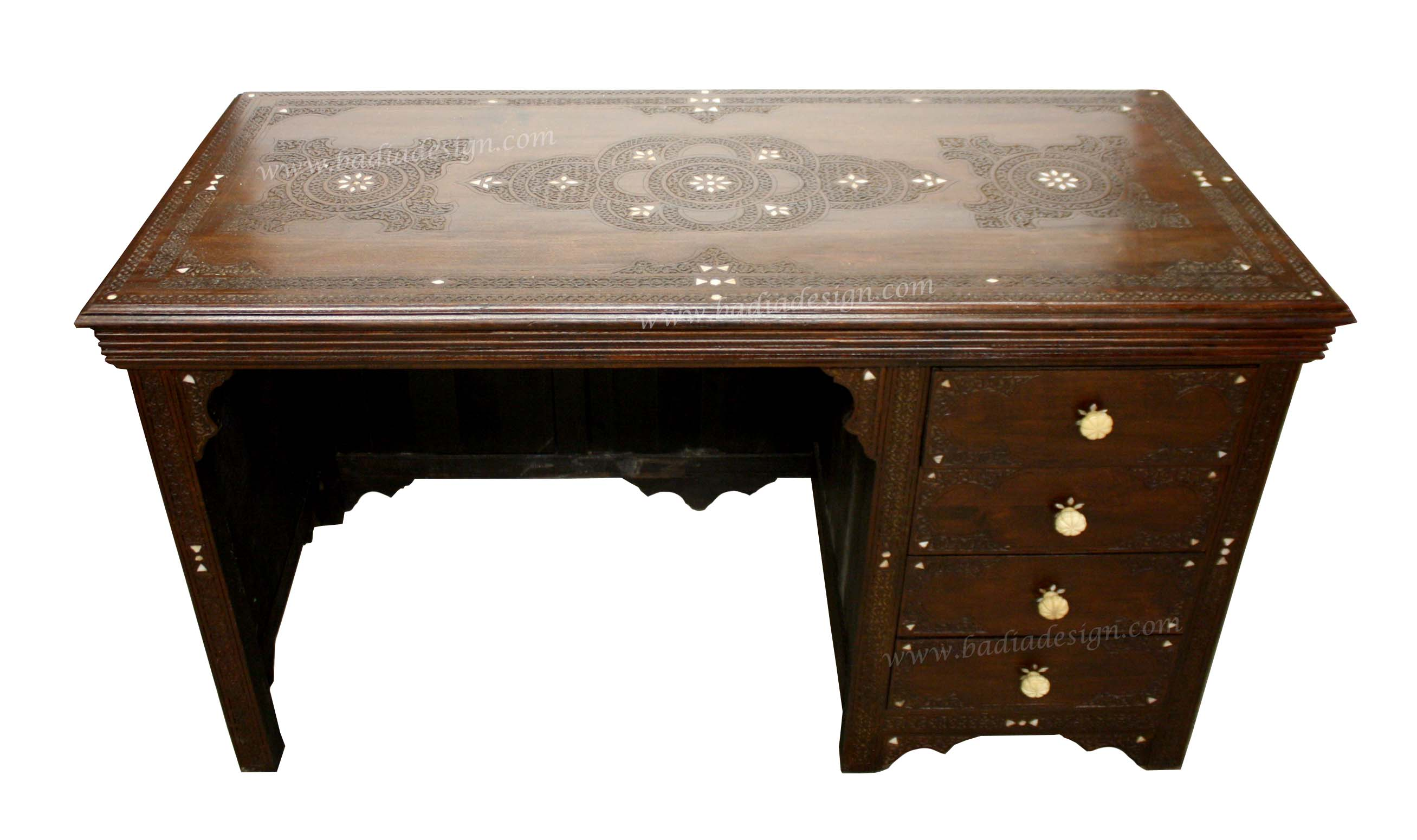 moroccan hand carved wooden inlay desk from badia design inc wood end table round easter tablecloth glass side ikea iron bench legs living room coffee ideas pottery barn accent