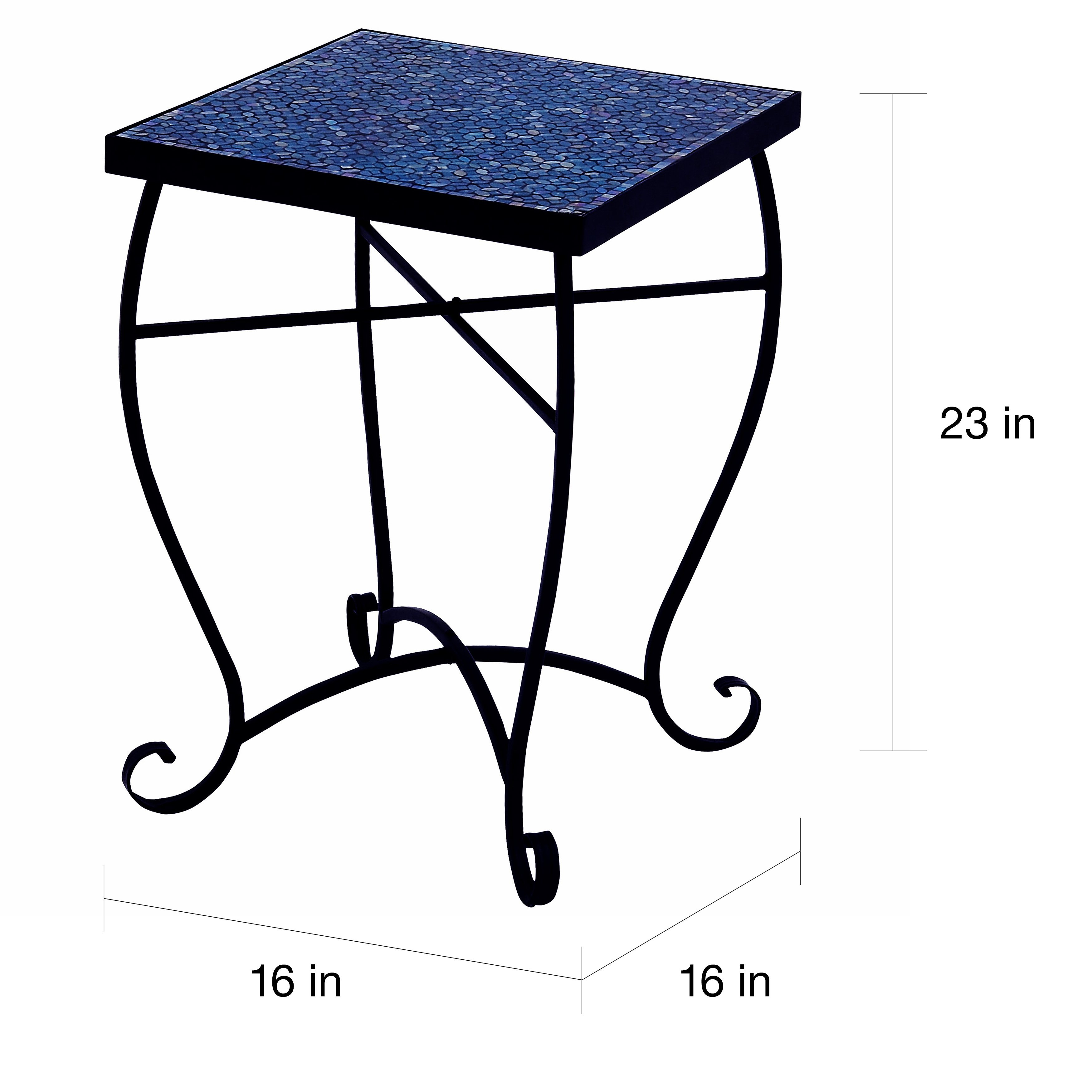 moroccan mosaic blue square side accent table free shipping today buffet server wrought iron brass with glass top silver tray small marble coffee casual dining sets chrome