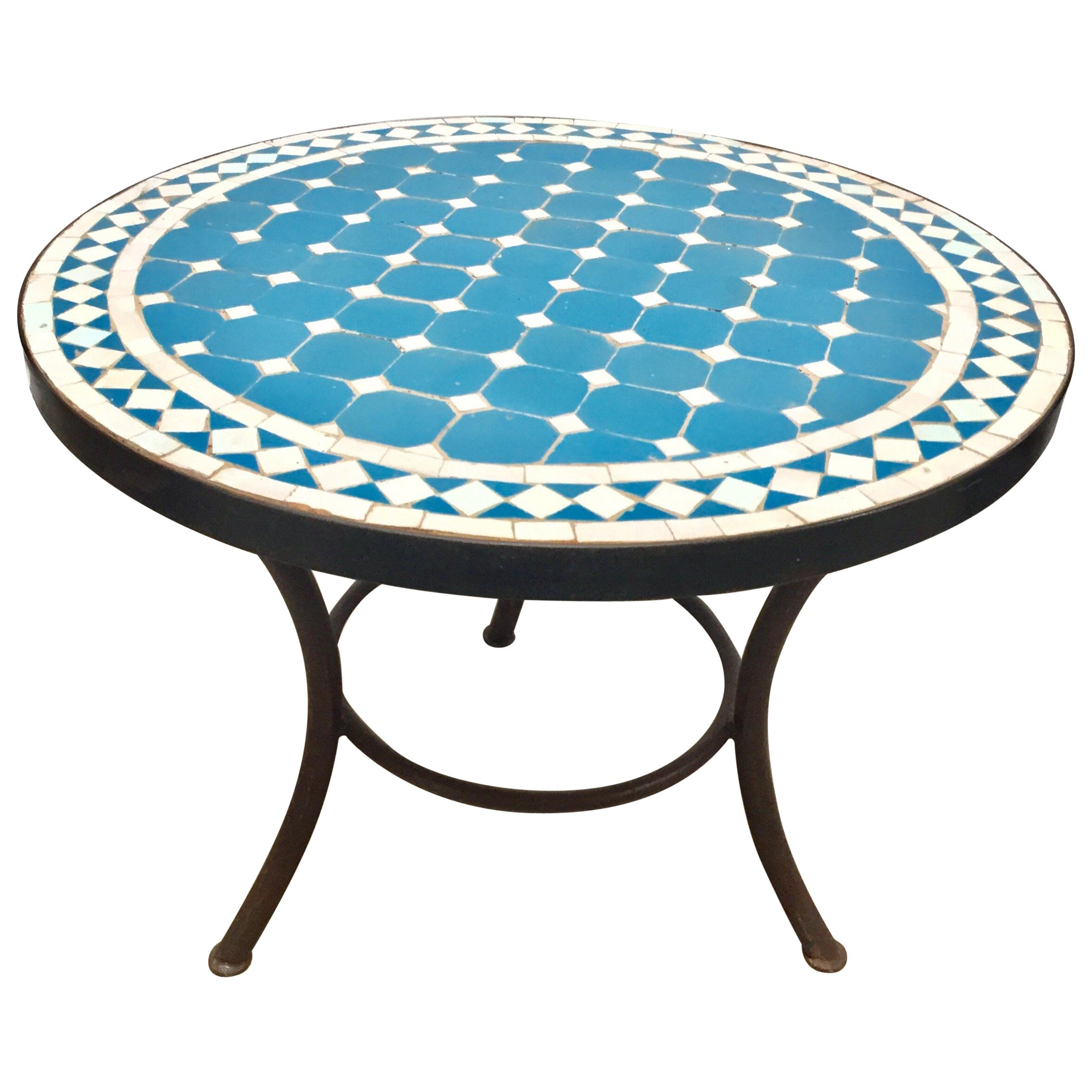 moroccan mosaic outdoor turquoise tile side table low iron base master accent baby changing unit dining room sets small couches for spaces west elm white runner chests and