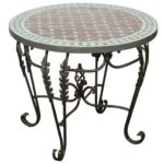 moroccan round mosaic tile side table indoor outdoor master accent white runner inexpensive patio furniture sets laminate flooring doorway transition chests cabinets metal drum 150x150
