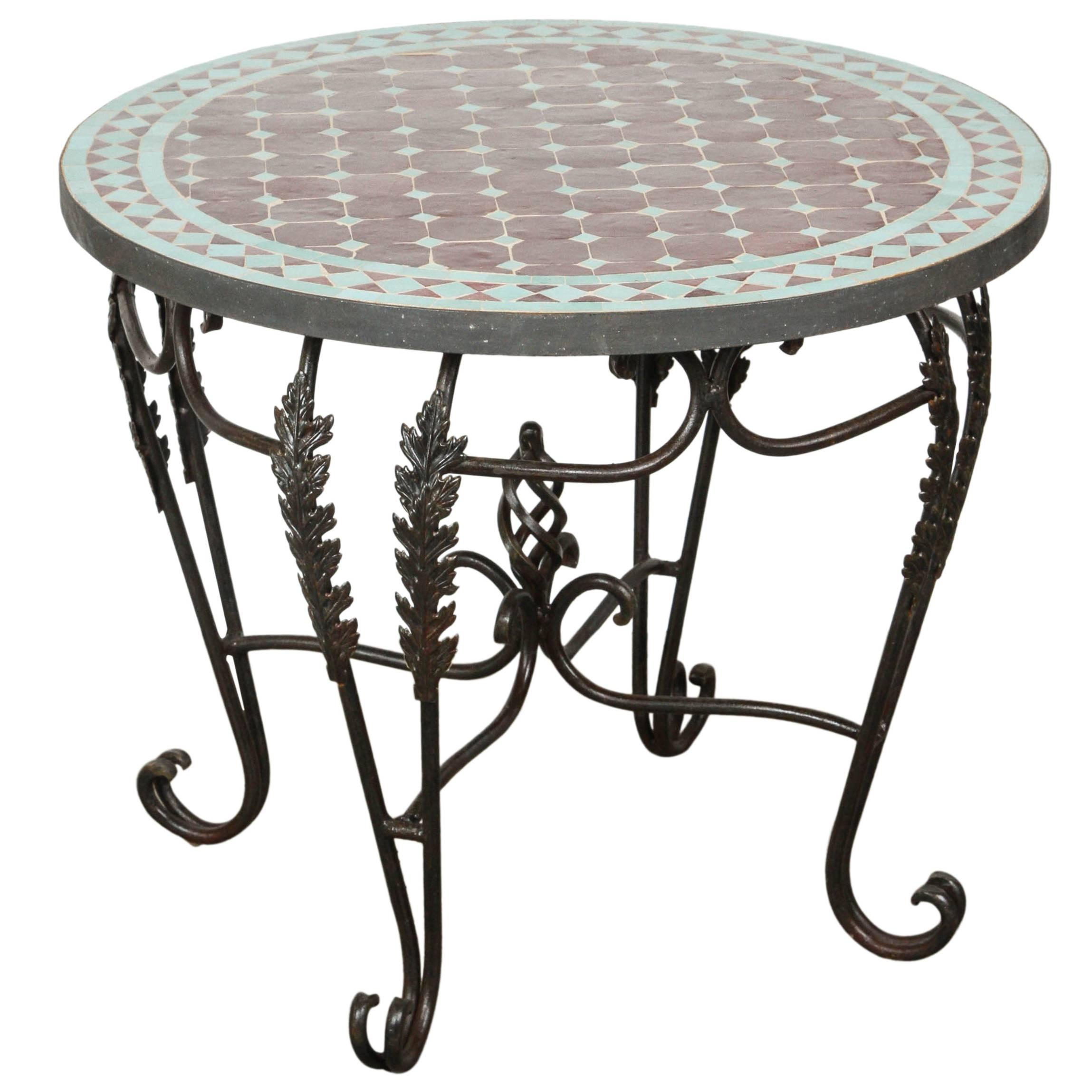 moroccan round mosaic tile side table indoor outdoor master accent white runner inexpensive patio furniture sets laminate flooring doorway transition chests cabinets metal drum