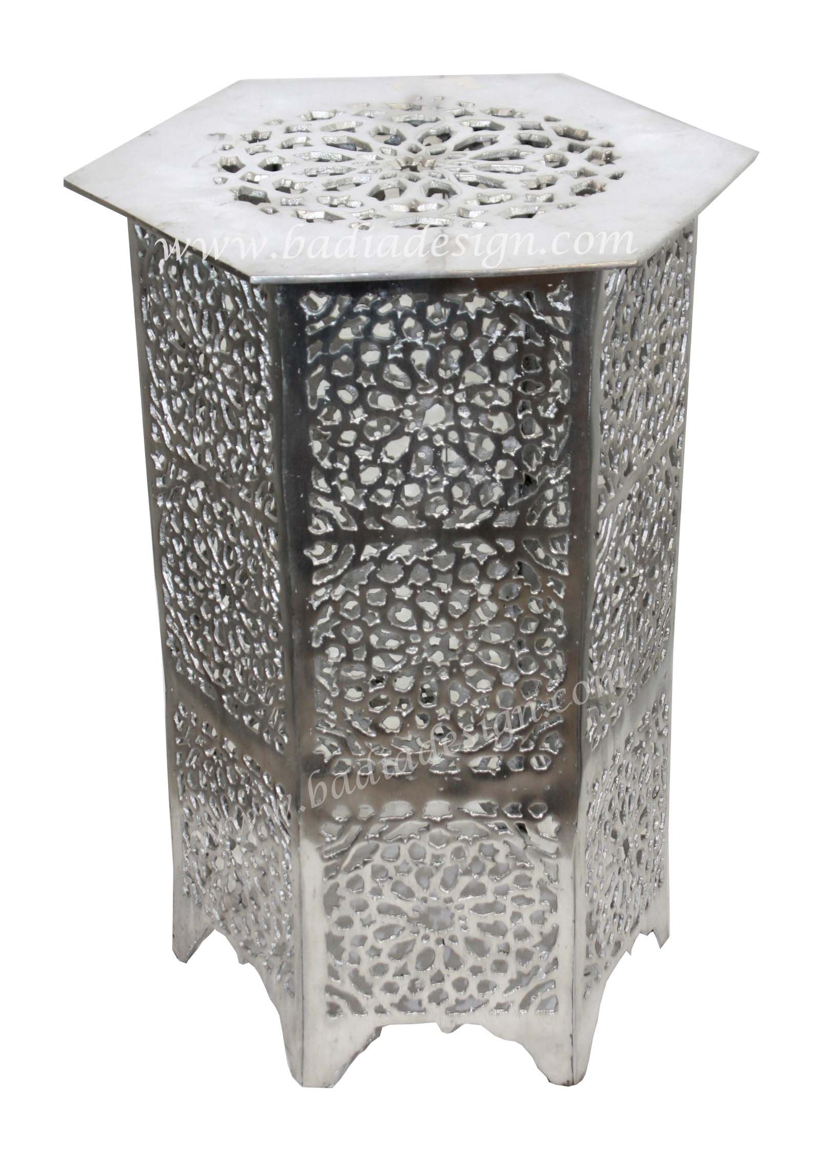 moroccan silver metal accent table from badia design inc kitchen sideboard home interior accessories valley city furniture pool umbrella stand ikea dining room marble wood coffee