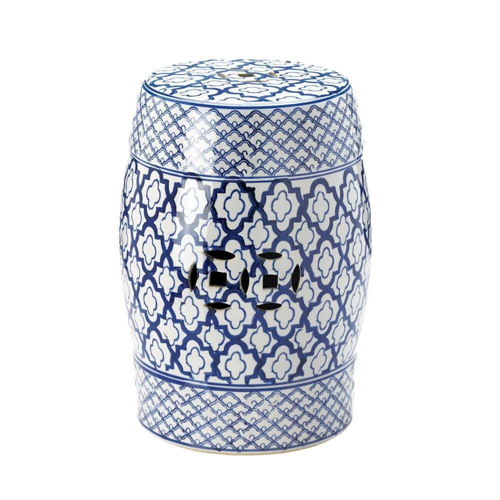 moroccan tile print blue white ceramic outdoor stool accent table end side plant stand garden furniture for less teal bedroom accessories used hand painted target floor rugs next