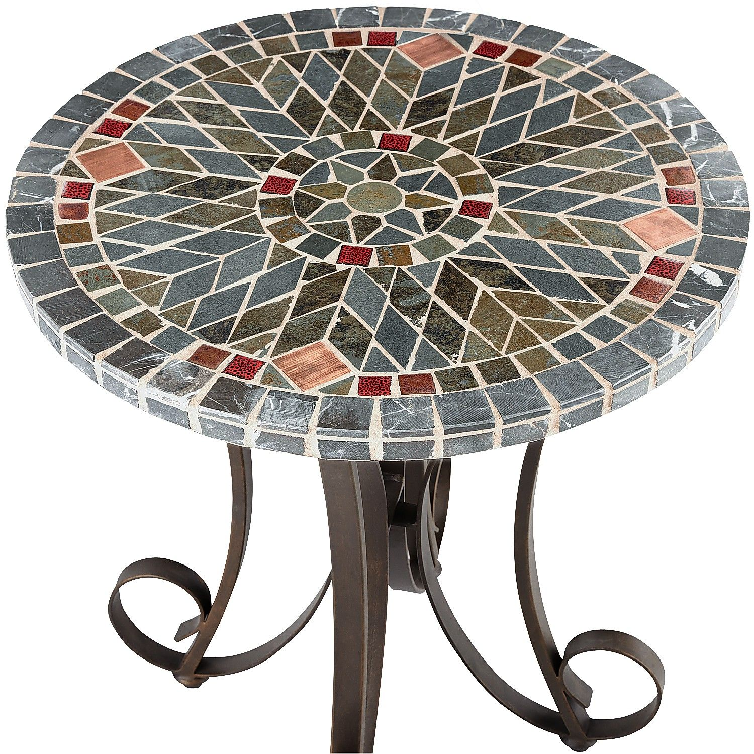 mosaic accent table jigsy decmode traditional inch round zaltana outdoor patio verazze zoom pier imports white wicker coffee affordable furniture the living room small iron side
