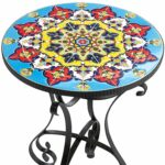 mosaic accent table outdoor laeti fanette round side zaltana emilio coffee tables room essentials lamp target black dresser types furniture white wicker long monarch ceramic door 150x150