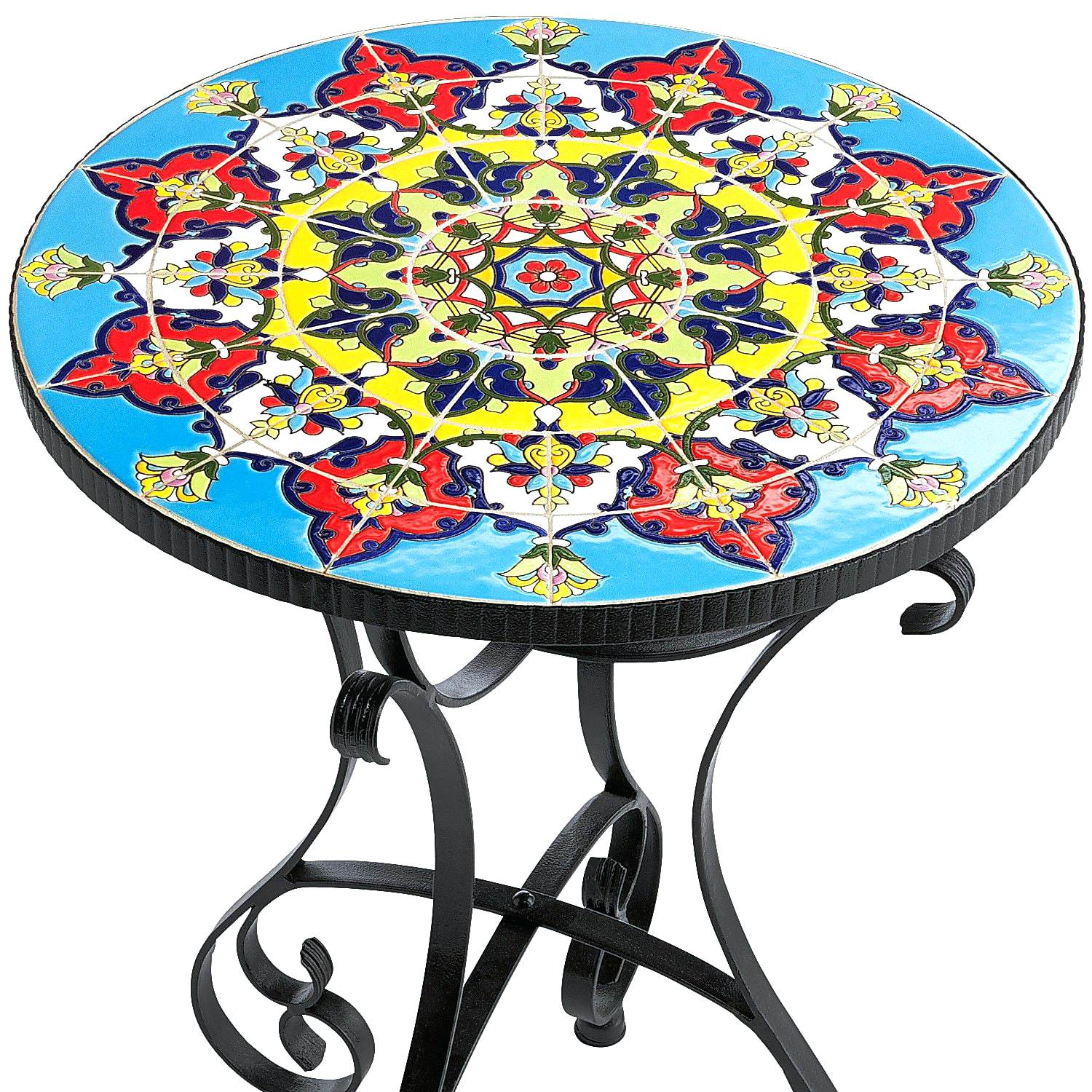 mosaic accent table vinnymo sunflower kohls dining room furniture garden stool mid century modern replica mirrored console cabinet trestle small centerpieces pedestal plant stand