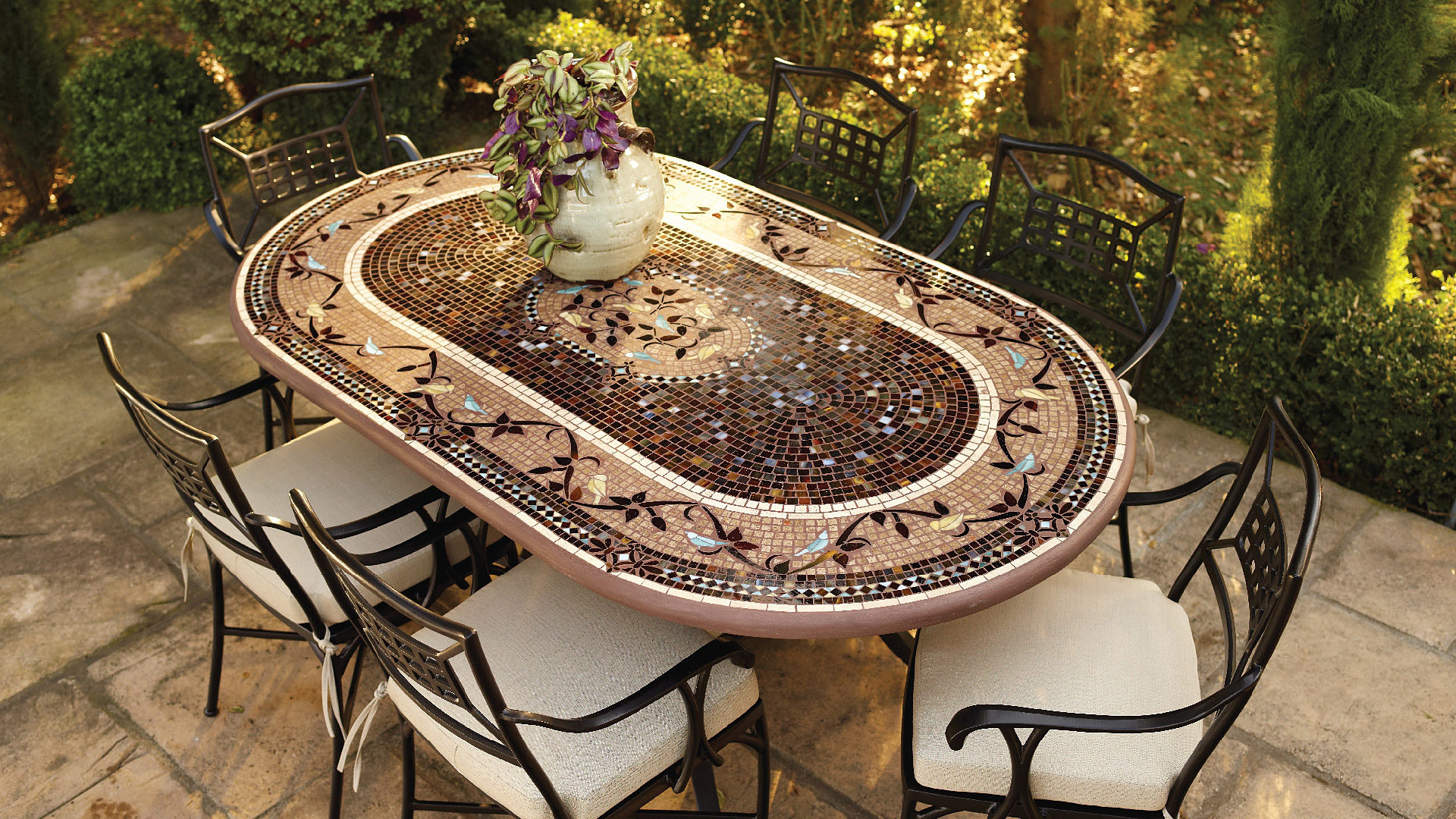 mosaic bistro table dining and chairs outdoor side room decor tile accent antique gold console dresser drawer pulls garden storage units laminate flooring doorway transition