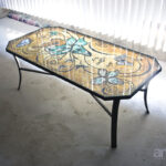 mosaic butterfly table top designer glass mosaics furniture accent teak dining set plastic patio and chairs retro inch round decorator cloth oval cover tall telephone high small 150x150