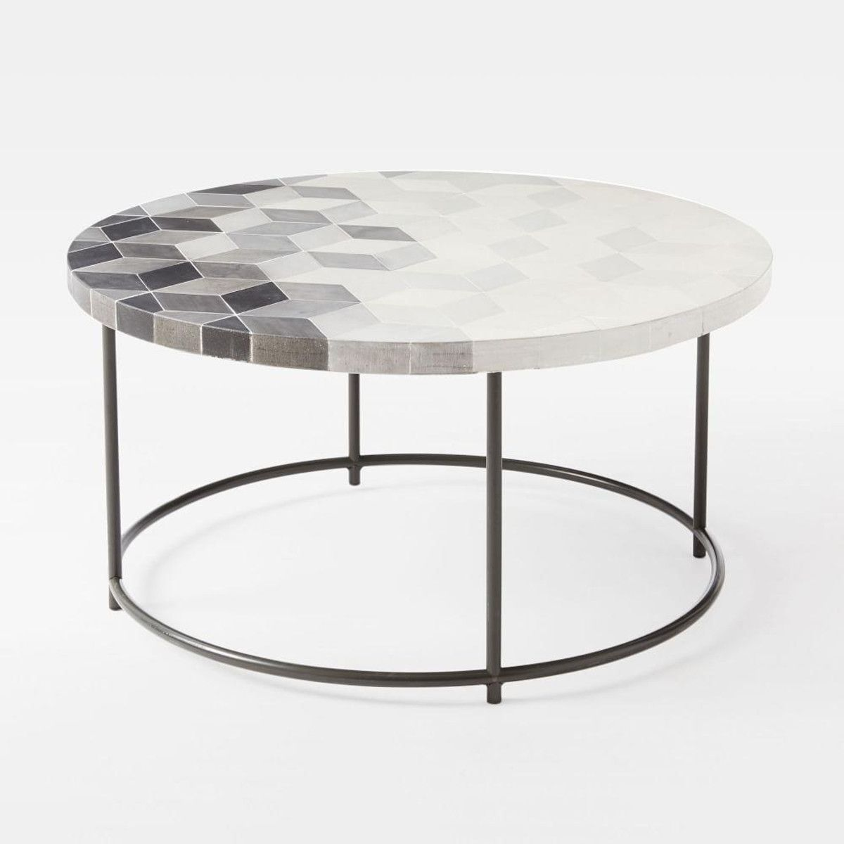 mosaic coffee table isometric concrete metal base mathematical outdoor side wood and round white sliding door dark gray end tables accent half moon glass nest nautical lamps chair