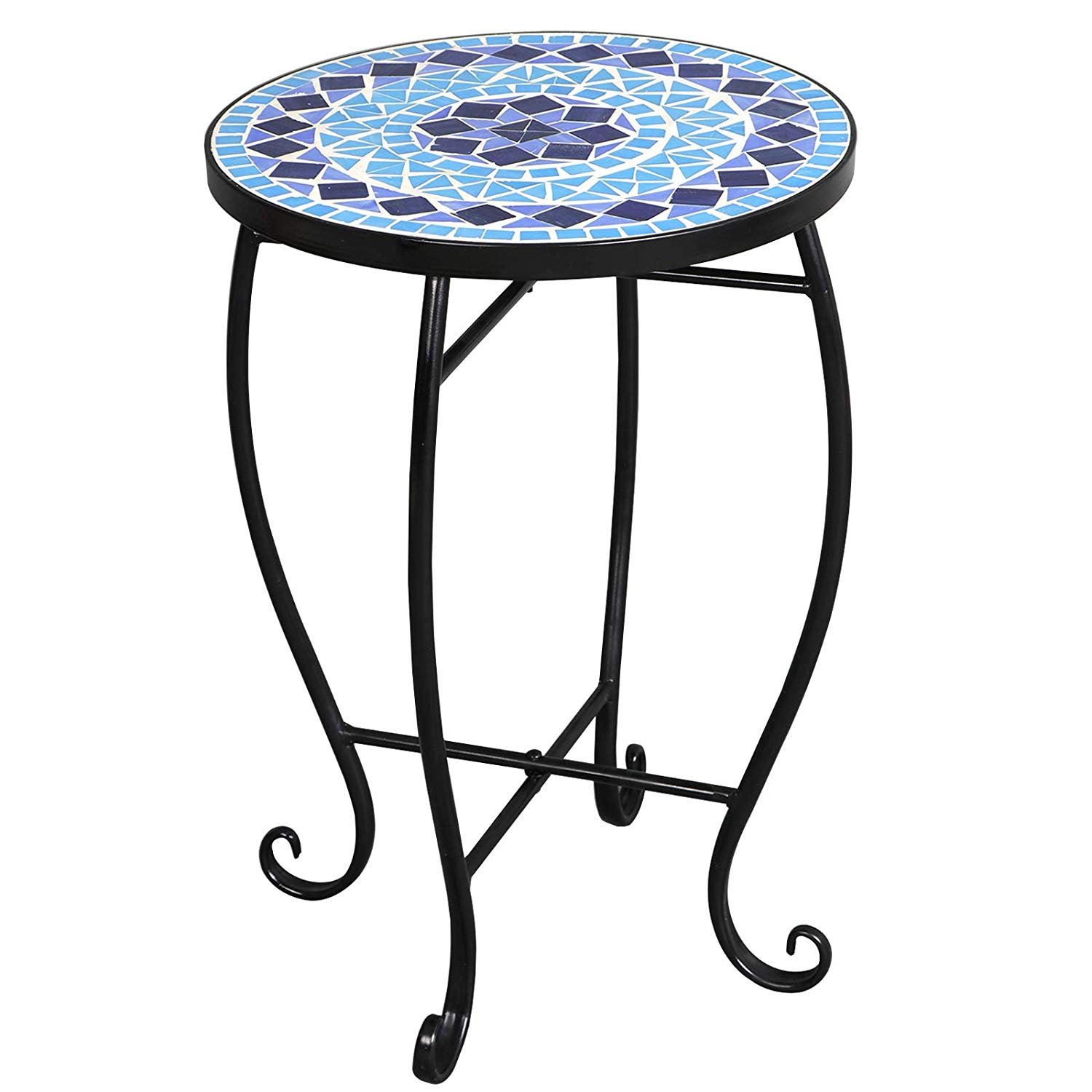 mosaic round side table plant stand floor flower pots tile outdoor accent rack planter holder decor potted containers shelf display for home patio garden indoor iron best