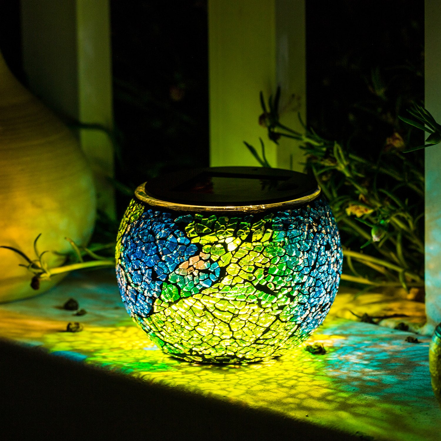 mosaic table garden find line bella green outdoor accent get quotations solar lights kinna pack glass ball lamp waterproof for home ashley furniture round dining high nightstand
