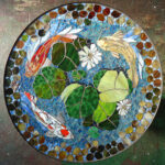 mosaic table koi fish art stained glass mirror tile outdoor accent laminate flooring doorway transition the uttermost company with wheels best tablecloths slim round patio and 150x150