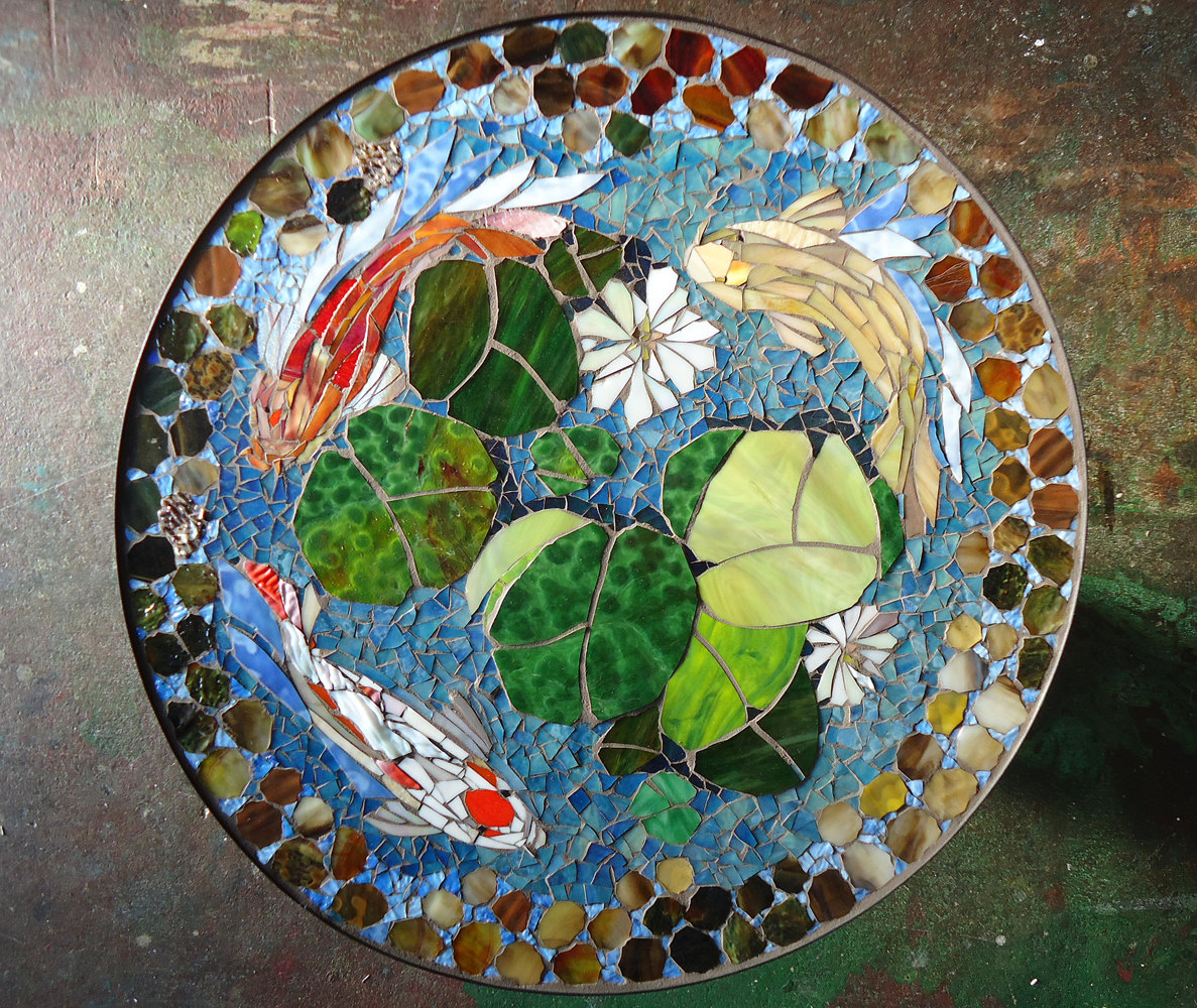 mosaic table koi fish art stained glass mirror tile outdoor accent laminate flooring doorway transition the uttermost company with wheels best tablecloths slim round patio and