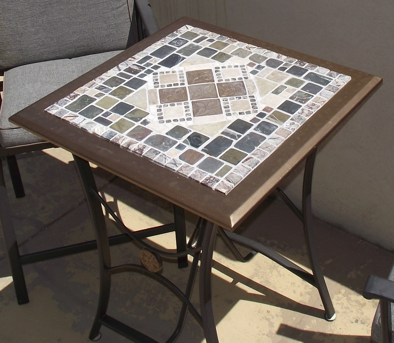 mosaic tile patio table upcycled glass accent top outdoor cymbal bag west elm wooden bedside designs console with sliding barn doors black plastic side used office furniture