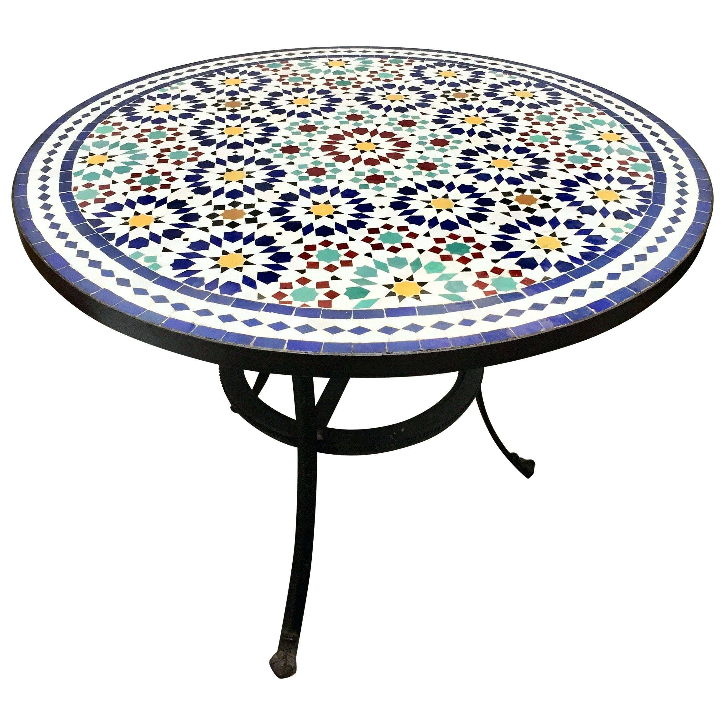 mosaic tile table blue full size decorating outdoor from fez traditional design diy accent indoor small round metal coffee with leaf white corner end asian lamp shade linen