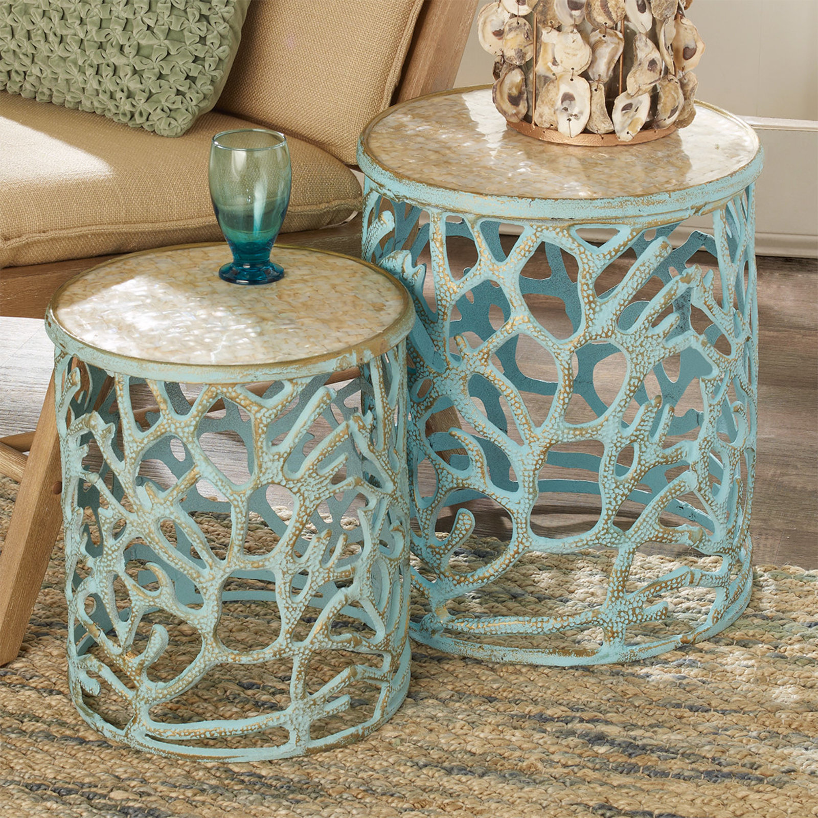 mother pearl coral accent tables shades light nautical table pear weathered blue sams patio furniture magnussen glass coffee espresso end with drawer telephone ikea tool chest