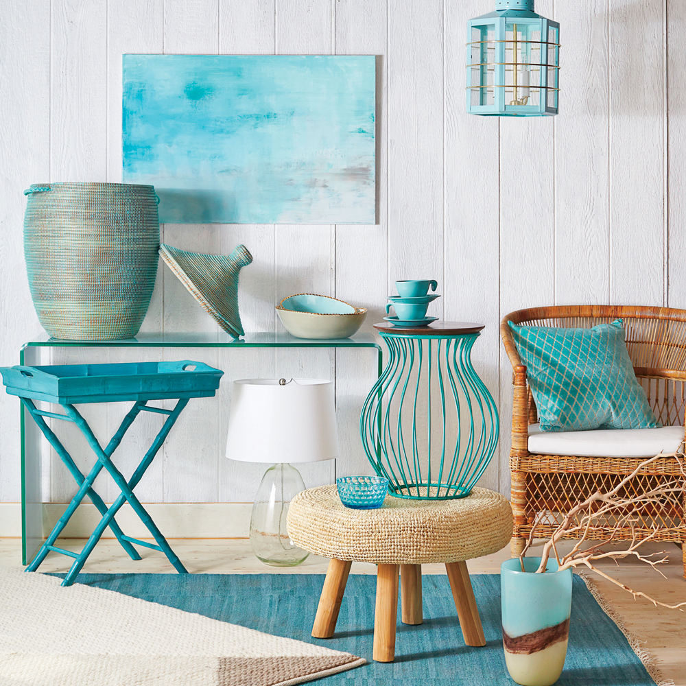 must have turquoise decor coastal living room accent snack table with glass top from tabletop pieces cushy blankets and throw pillows accents are the perfect way unusual nest