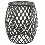 mygift bohemian chic openwork lattice design black metal garden stool accent table decorative stand outdoor small dining with leaf butler round outside storage cabinets trunk ikea 150x150