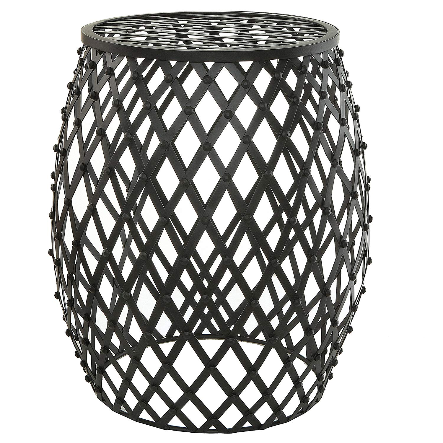 mygift bohemian chic openwork lattice design black metal garden stool accent table decorative stand outdoor small dining with leaf butler round outside storage cabinets trunk ikea