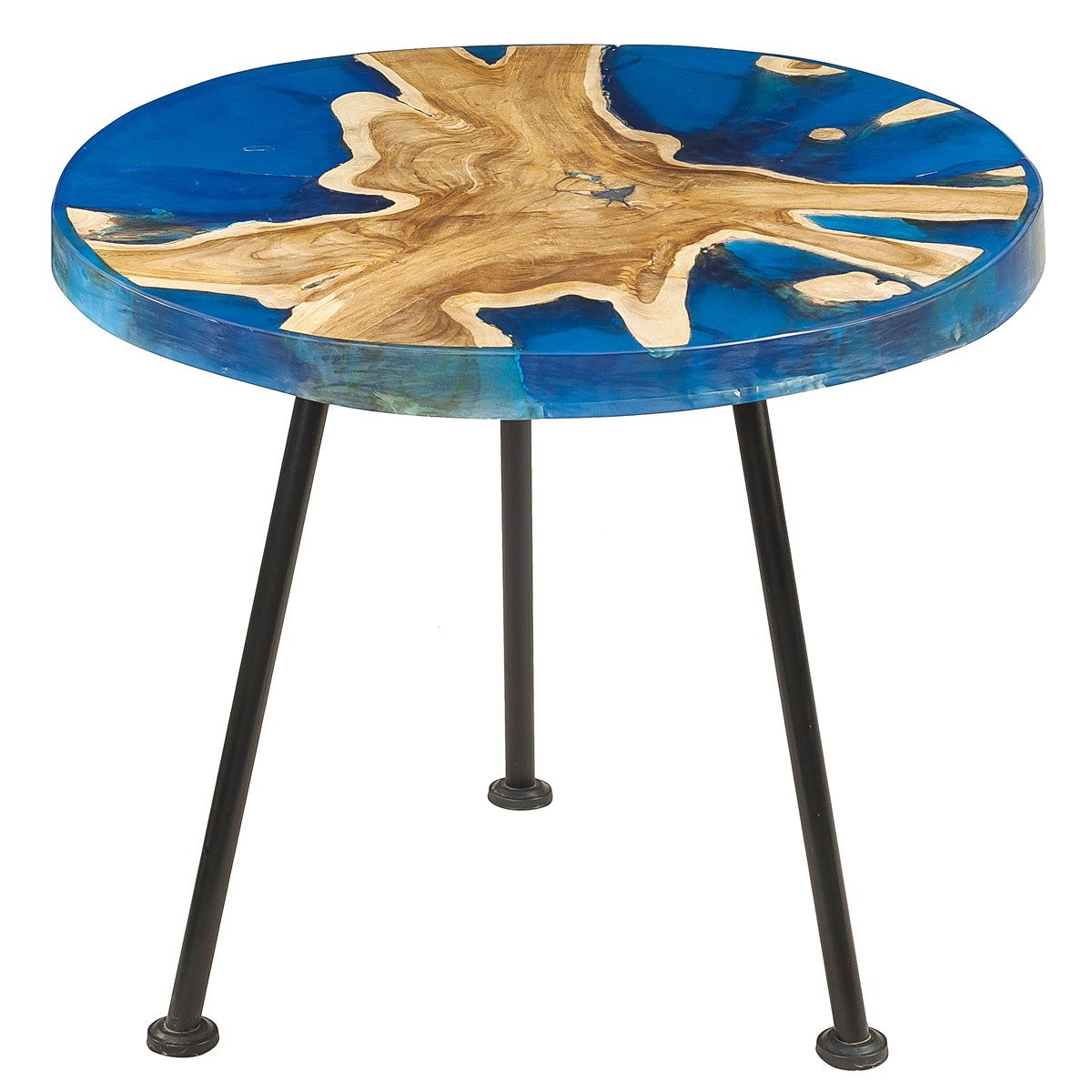 Nahla Resin Wood Side Table Blue Wrightwood Furniture Small Top Teak