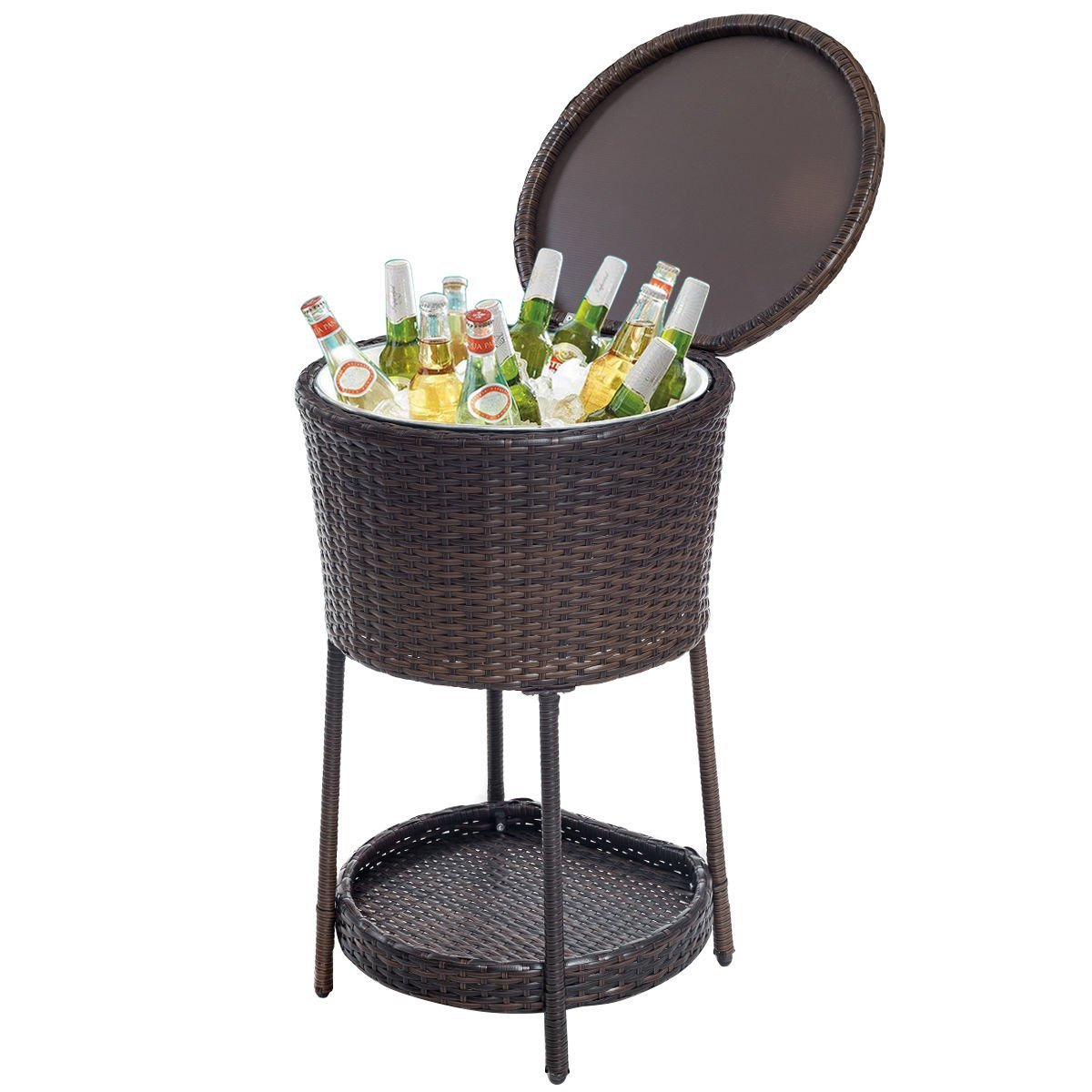 nak wicker cooler table outdoor cool bar patio coffee side with ice bucket garden drinks poolside lawn and backyard wine teak mid century modern dining bench circle set white