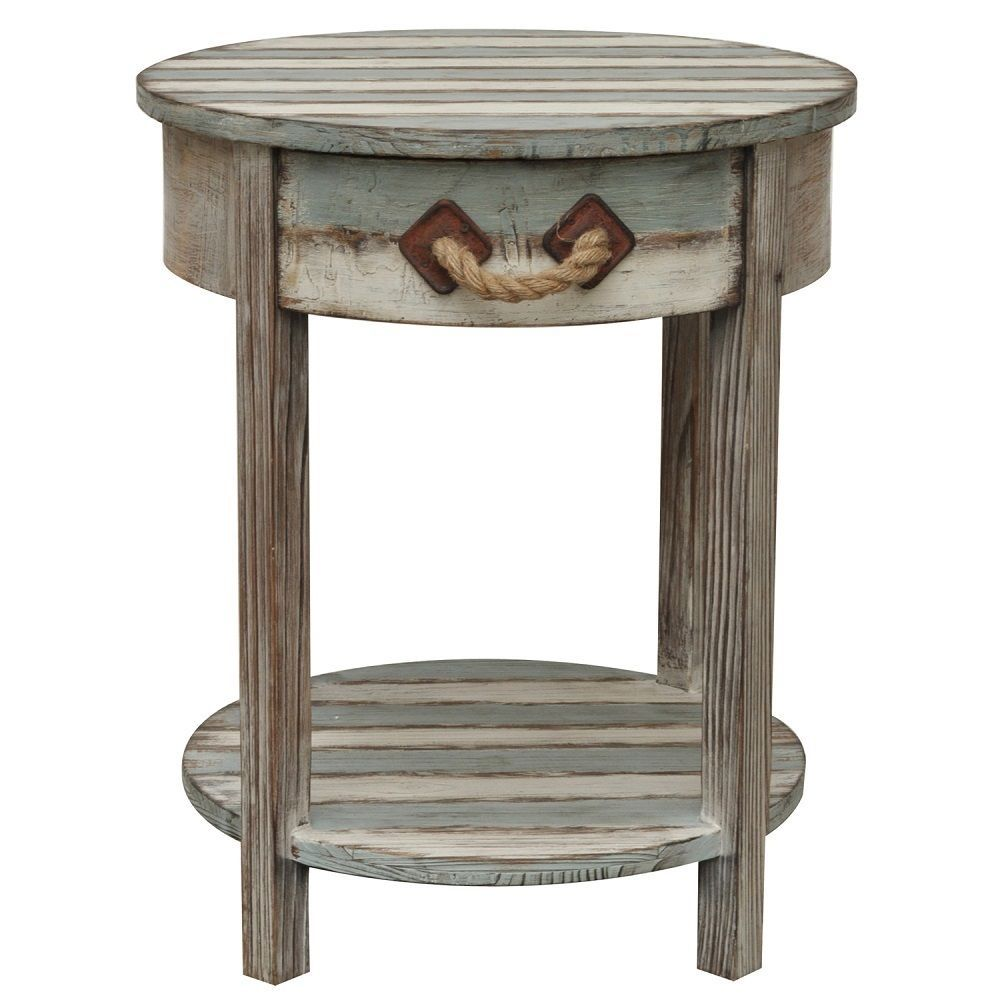 nantucket round weathered wood accent side end table coastal furniture tables white home accessories long farm couch covers target metal patio and chairs throne seat sofa for