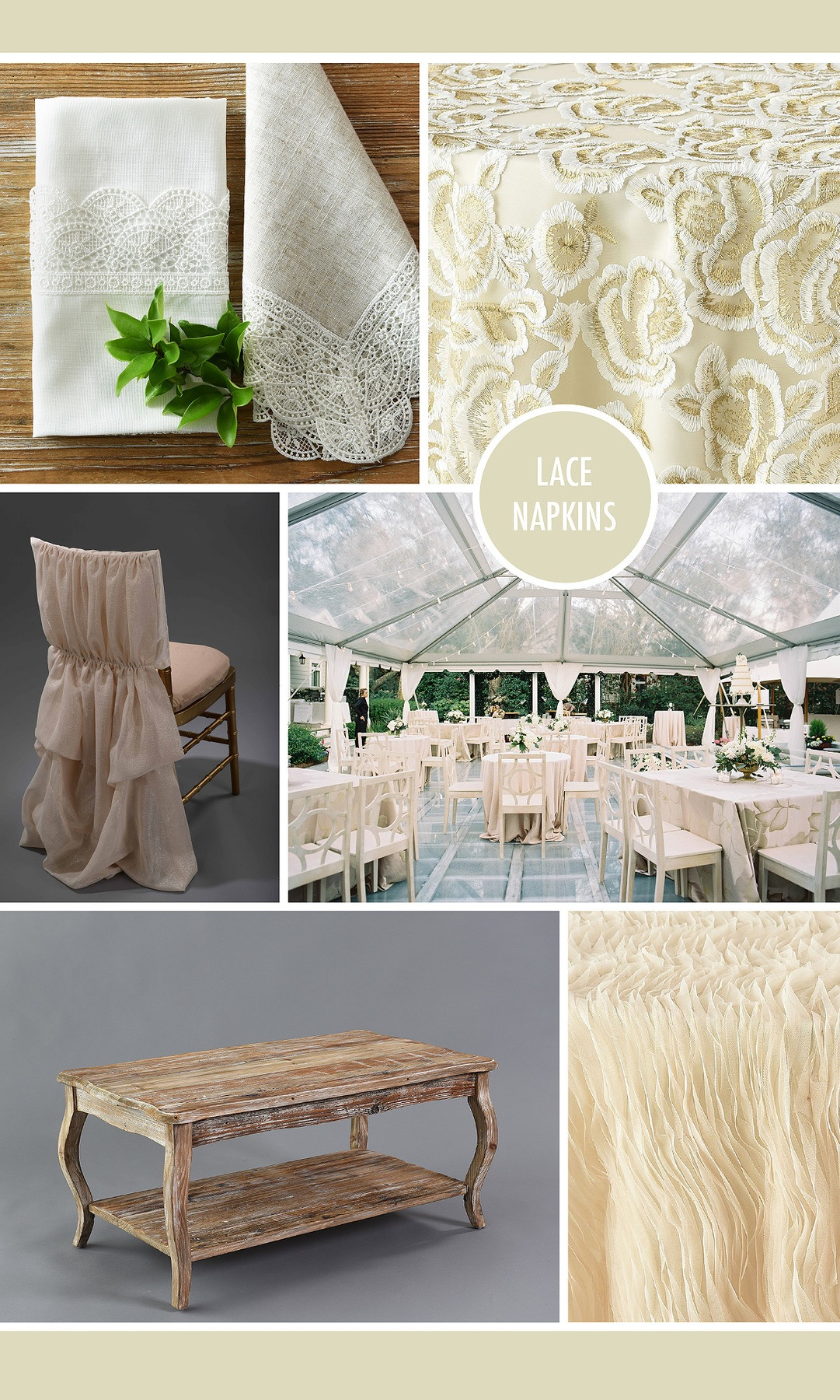 napkin designs elevate your event design nuage rental wedding napkins lace virgil accent table complete the look with ivory athena chairback and furniture like our vintage wood