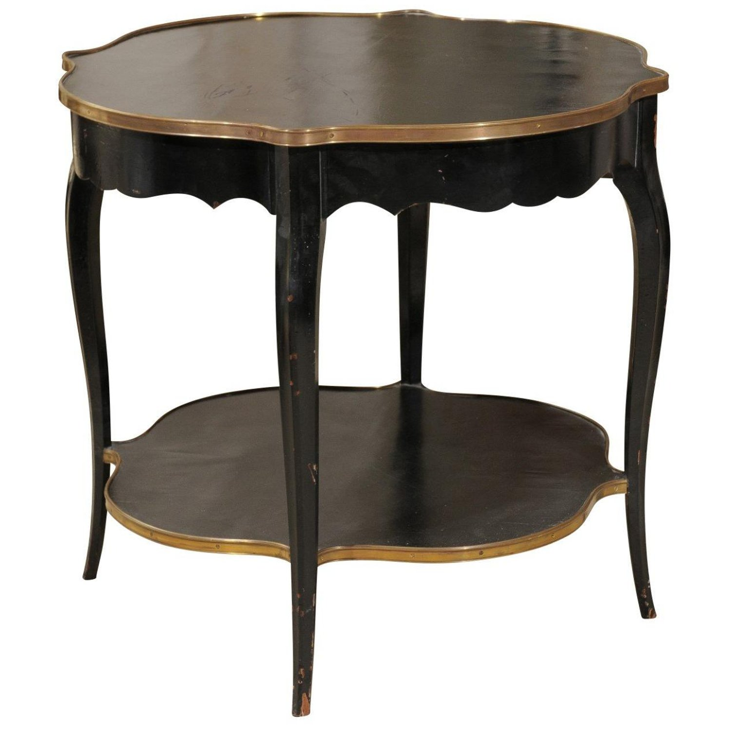 napoleon iii style quatrefoil black painted accent table with abp custom master wood gilt accents rectangle patio pedestal side glass top coffee storage umbrella hole insert three