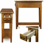 narrow accent table with drawer and shelf side end hall long tables entryway dorm chair sofa lamp storage small tall oak wooden brown decorative flat pier lamps reclaimed wood 150x150