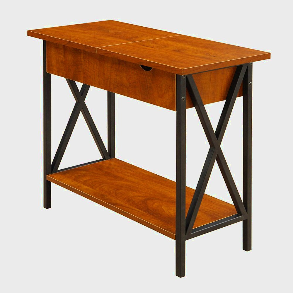narrow end table with storage for living room bedroom accent tables charging station small spaces side wood metal chairside cherry flip top glass contemporary extra thin console