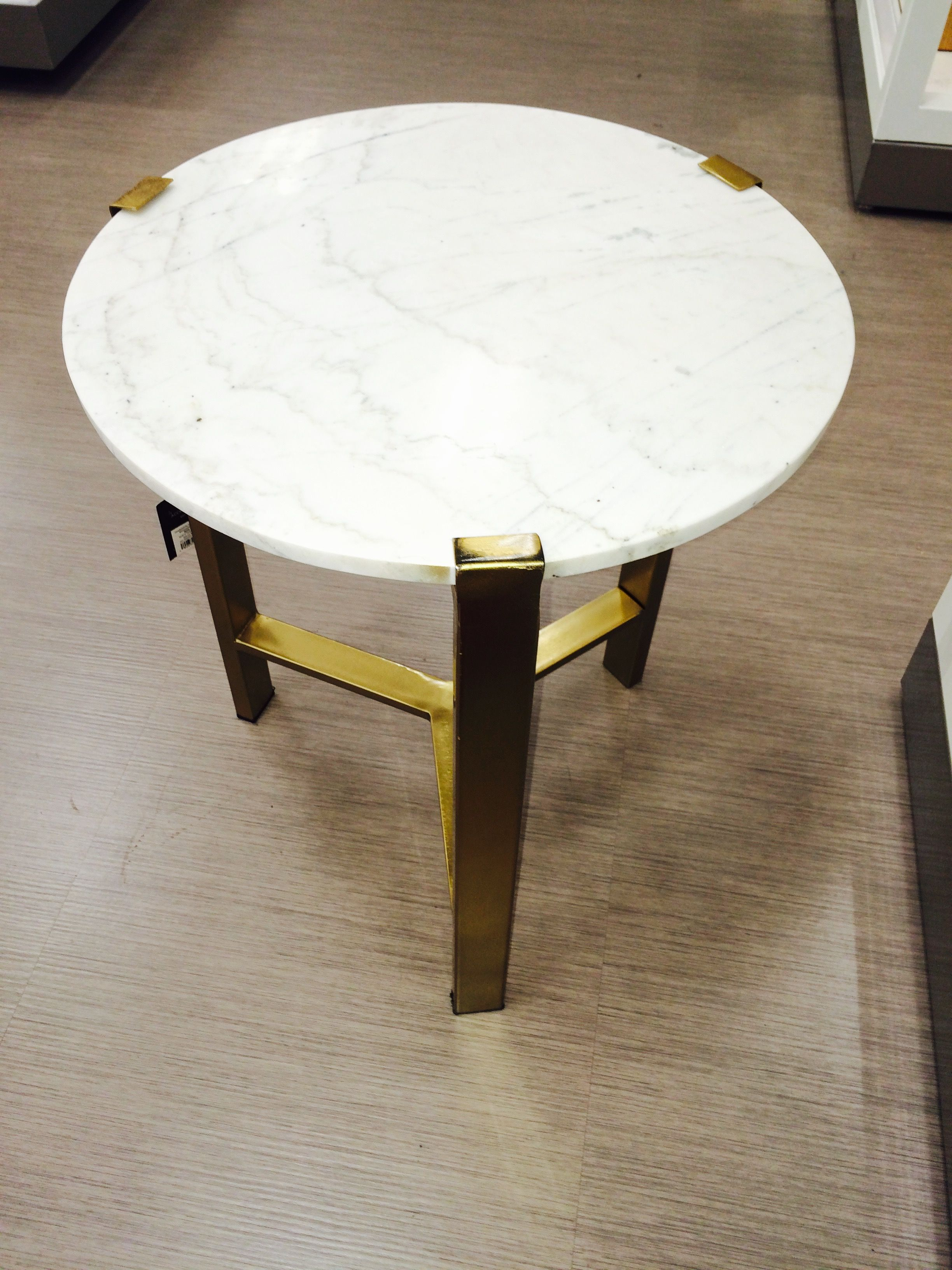 nate berkus for target gold accent table with marble top the antique white side pond lily tiffany lamp ethan allen fabrics unfinished small sage green pink patio umbrella dining