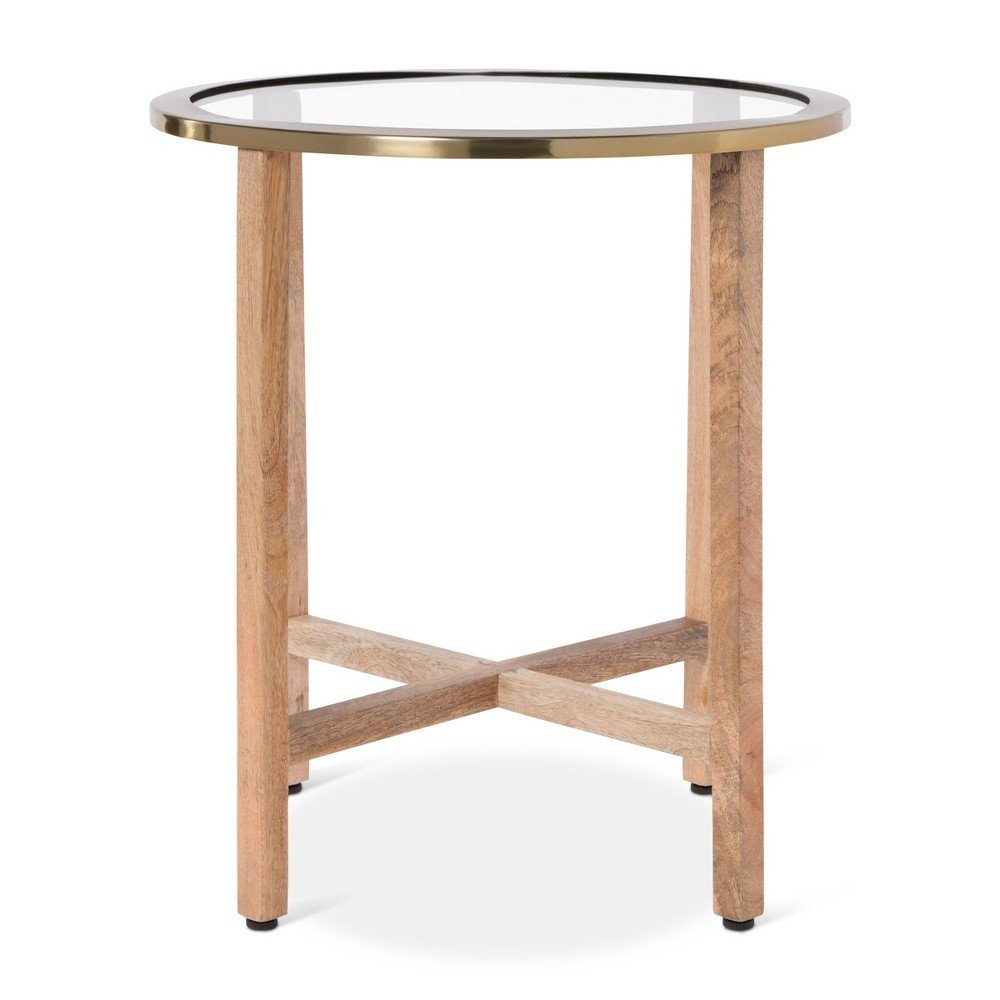 nate berkus glass top round end table coffee with agate accent brass edges kitchen dining ikea white rattan pottery barn graphers floor lamp storage modern replica furniture side