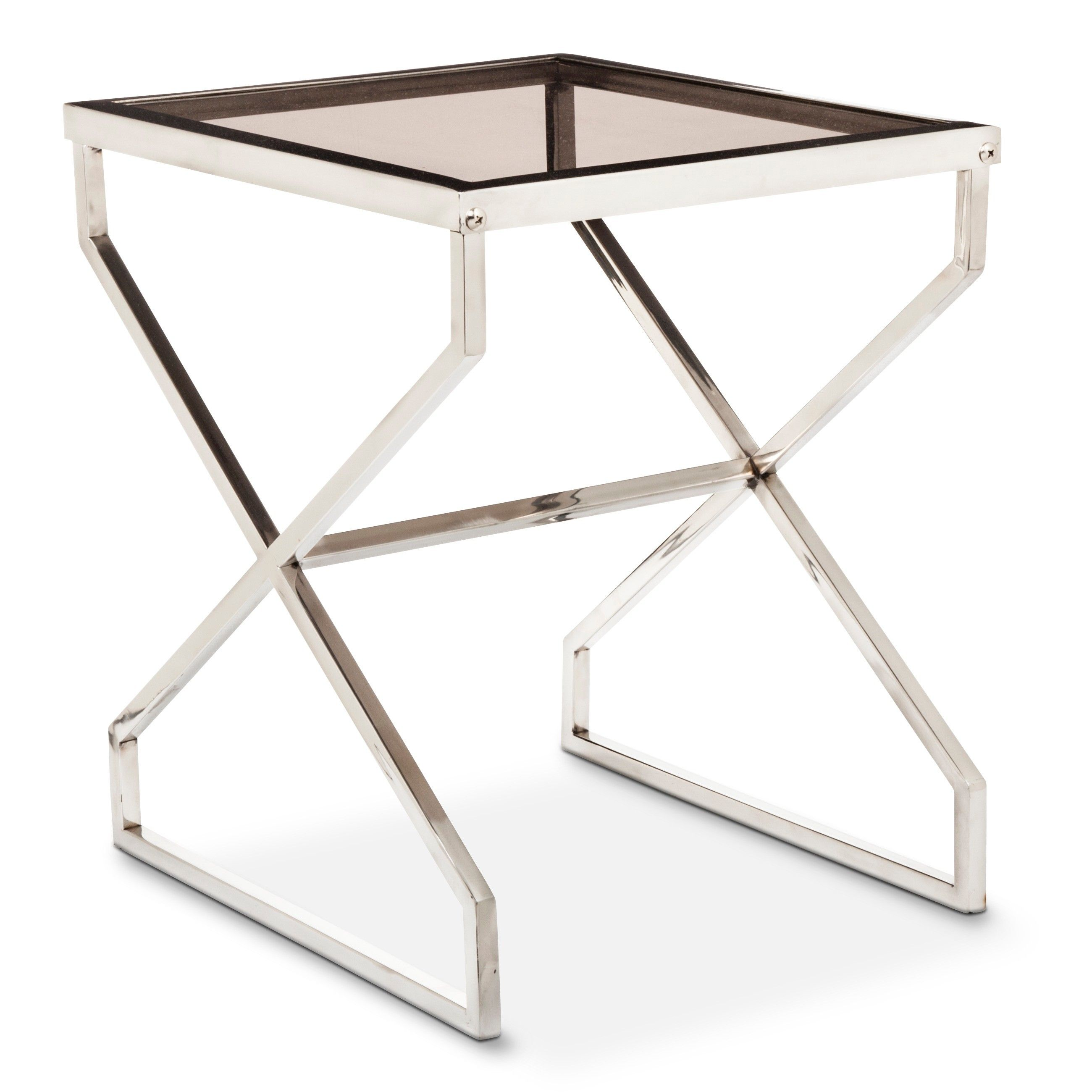 nate berkus silver and smoked glass accent table target moroccan side large white wall clock wood pedestal stand black metal end gold ikea plastic storage boxes with wheels