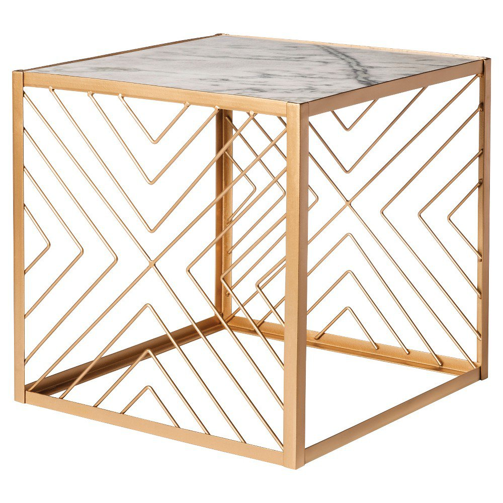 nate berkus square accent table with marble top gold patio parasol seater dining cover teak set wicker and chairs resin side tables venetian mirrored furniture rustic glass coffee