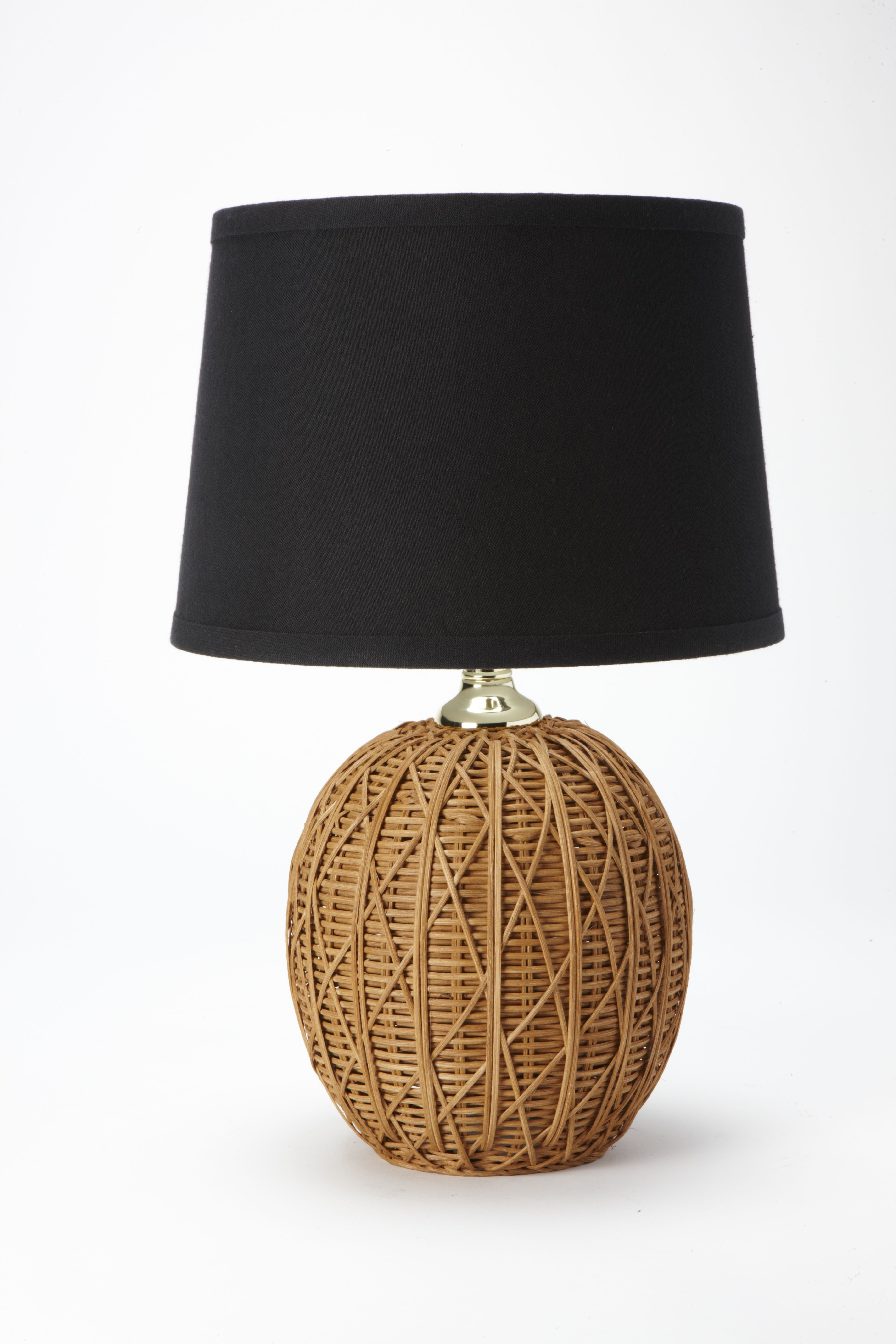 nate berkus woven rattan table lamp base with black linen shade cast metal accent wine rack tower white foyer bar height storage lucite sofa small oak telephone green marble top