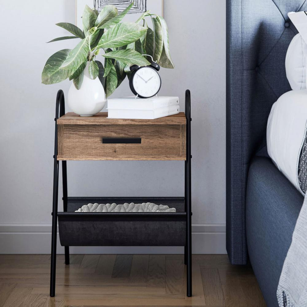 nathan james hugo rustic oak night stand accent table metal matte black end tables frame with drawer upcycled dining outdoor unique lamps round distressed coffee owings target