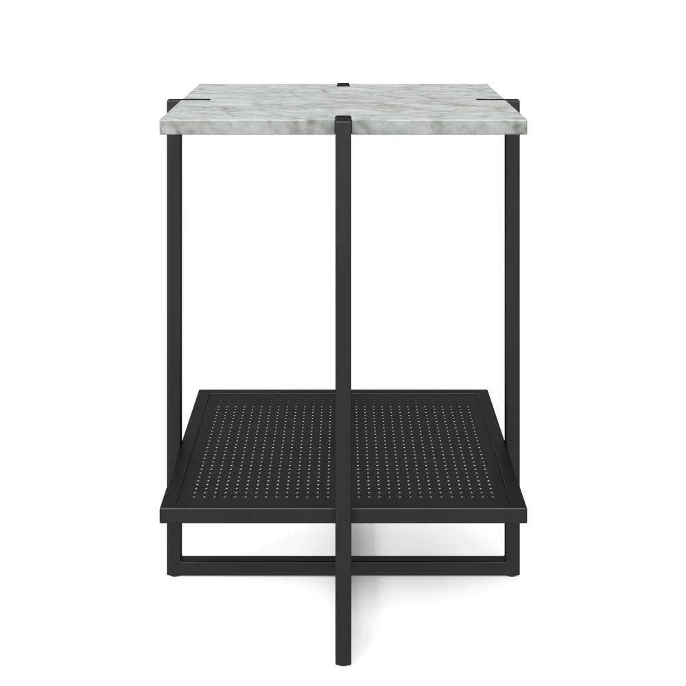 nathan james myles white marble top and black metal base tier end tables modern accent table world market dining chairs folding side meyda tiffany lamp outdoor bar height room