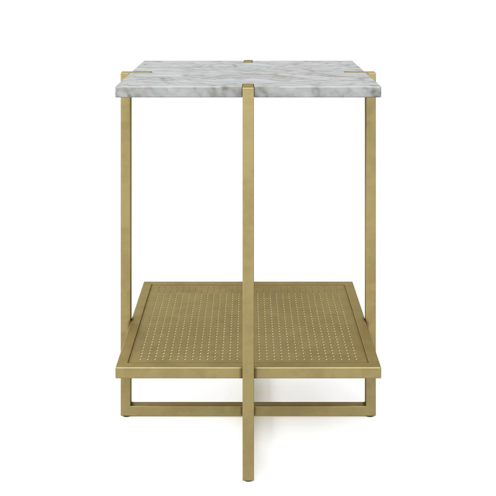 nathan james myles white marble top and gold metal base tier end tables accent table modern tilt patio umbrella with tablecloth ikea kitchen chairs distressed blue unfinished