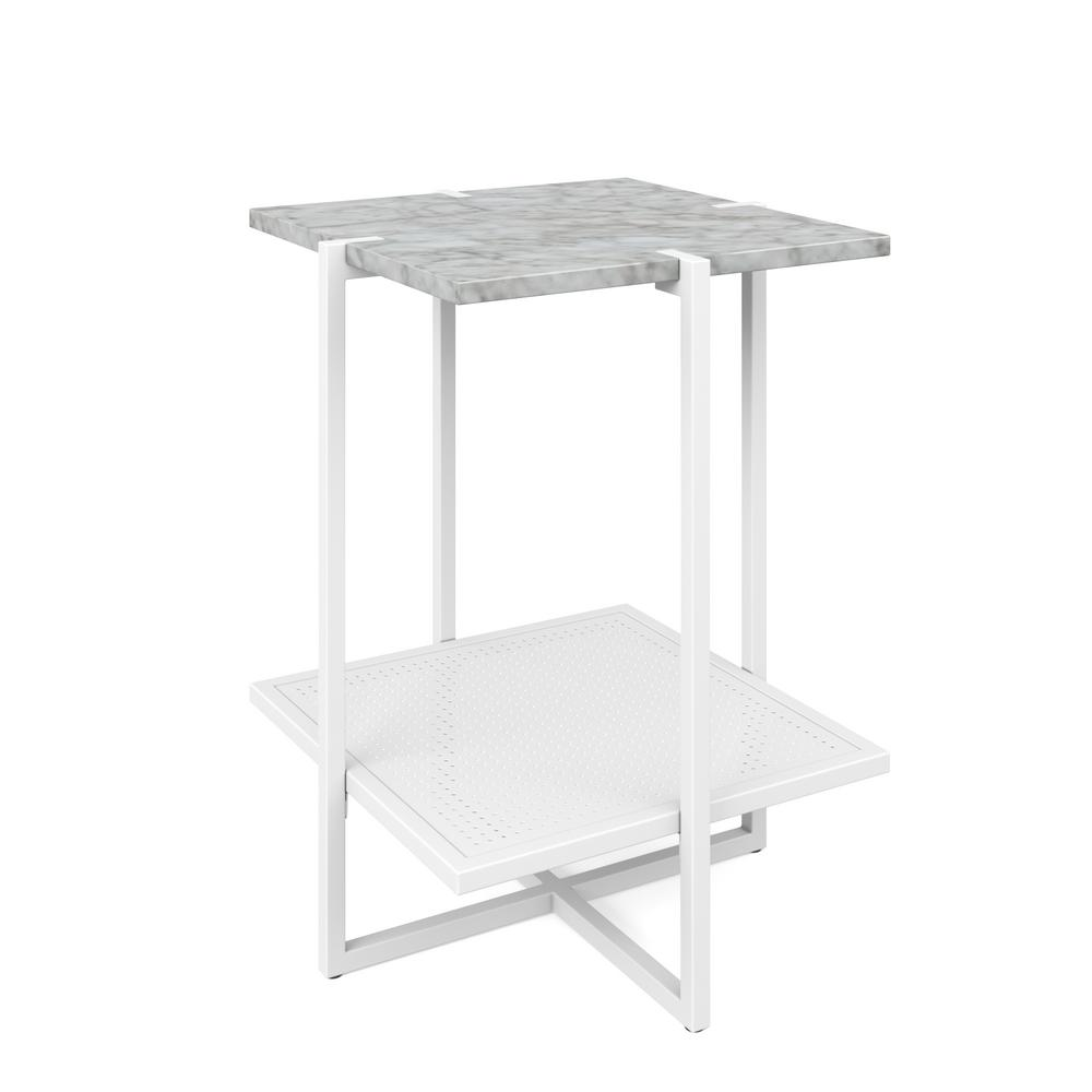 nathan james myles white marble top and metal base tier end tables accent table modern the bamboo coffee high off distressed patio umbrella side cream colored nightstand outdoor