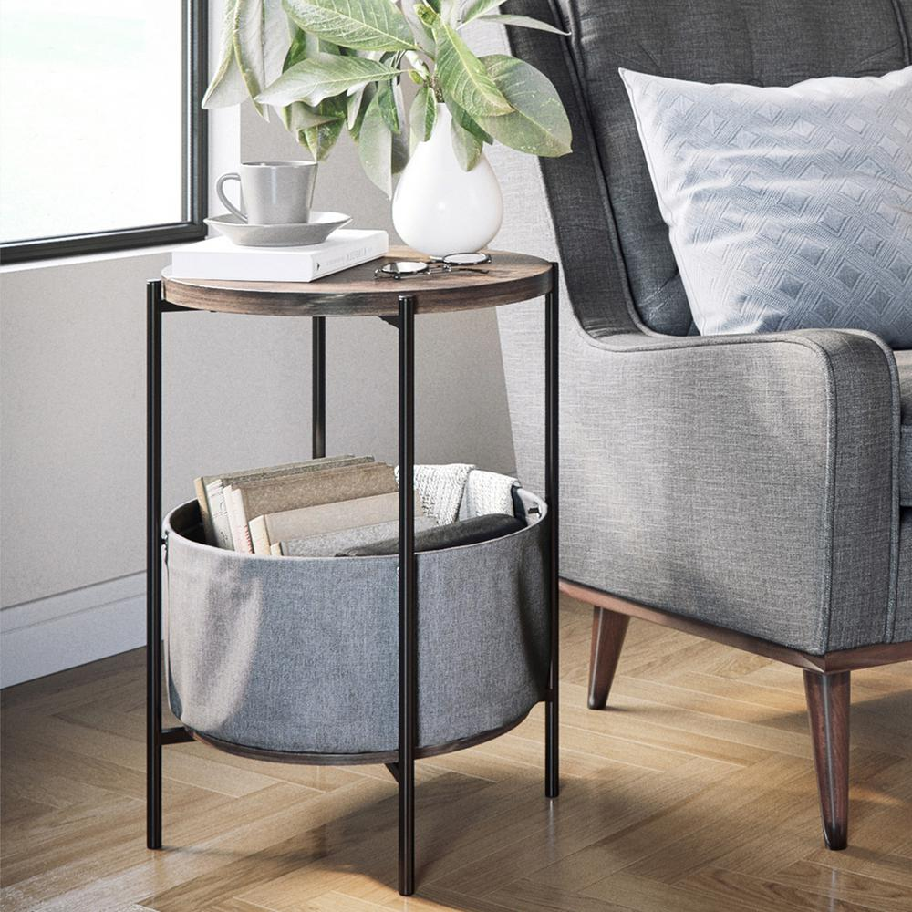 nathan james oraa nutmeg and black metal frame side table with end tables distressed grey quatrefoil mirror accent storage basket heaters outdoor stool pier friday floor desk lamp